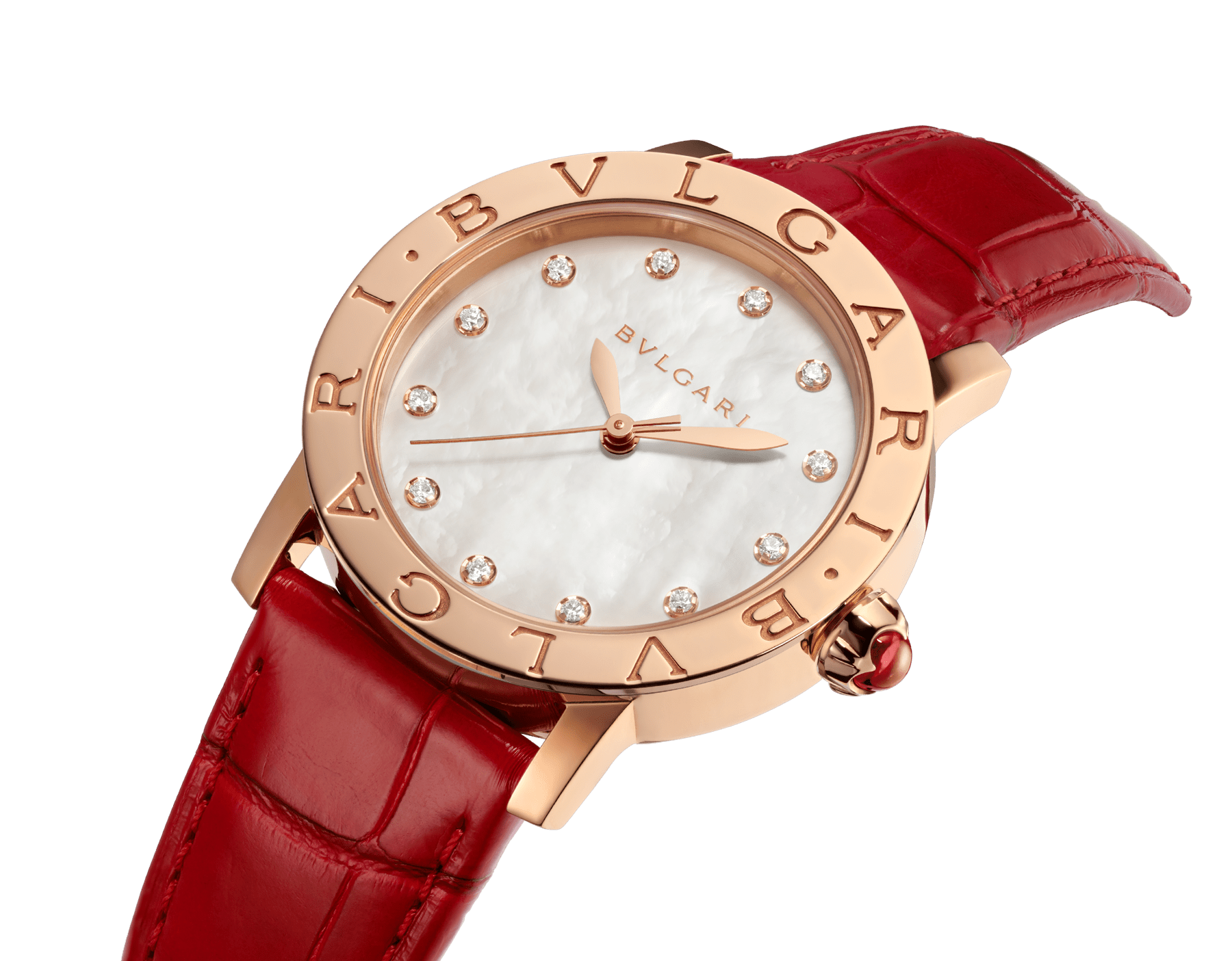 BVLGARI BVLGARI watch with 18 kt rose gold case, white mother-of-pearl dial, diamond indexes and shiny red alligator bracelet 102750 image 2