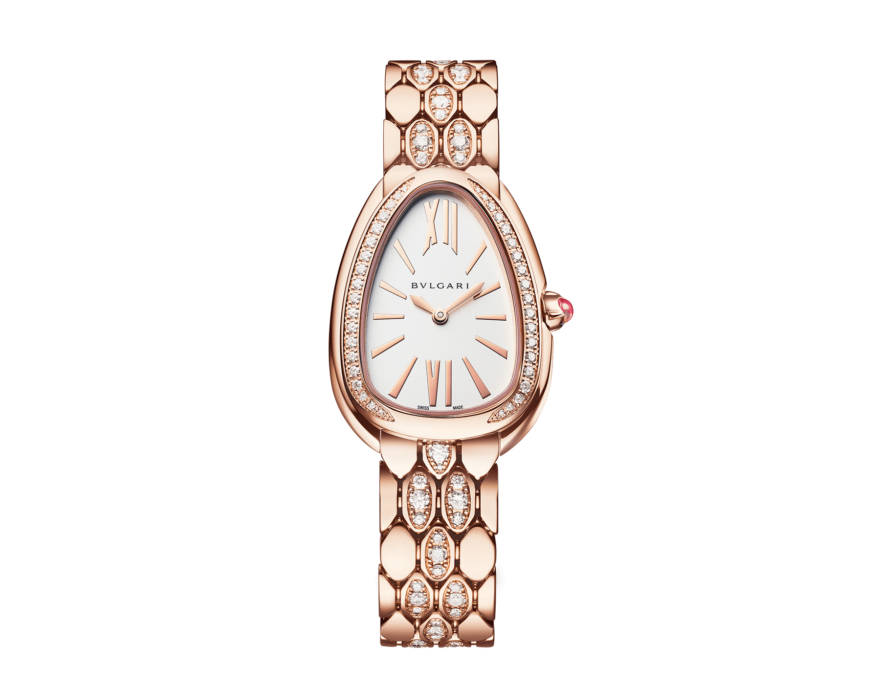 Serpenti Seduttori watch with 18 kt rose gold case and bracelet both set with diamonds, and white dial 103275 image 1