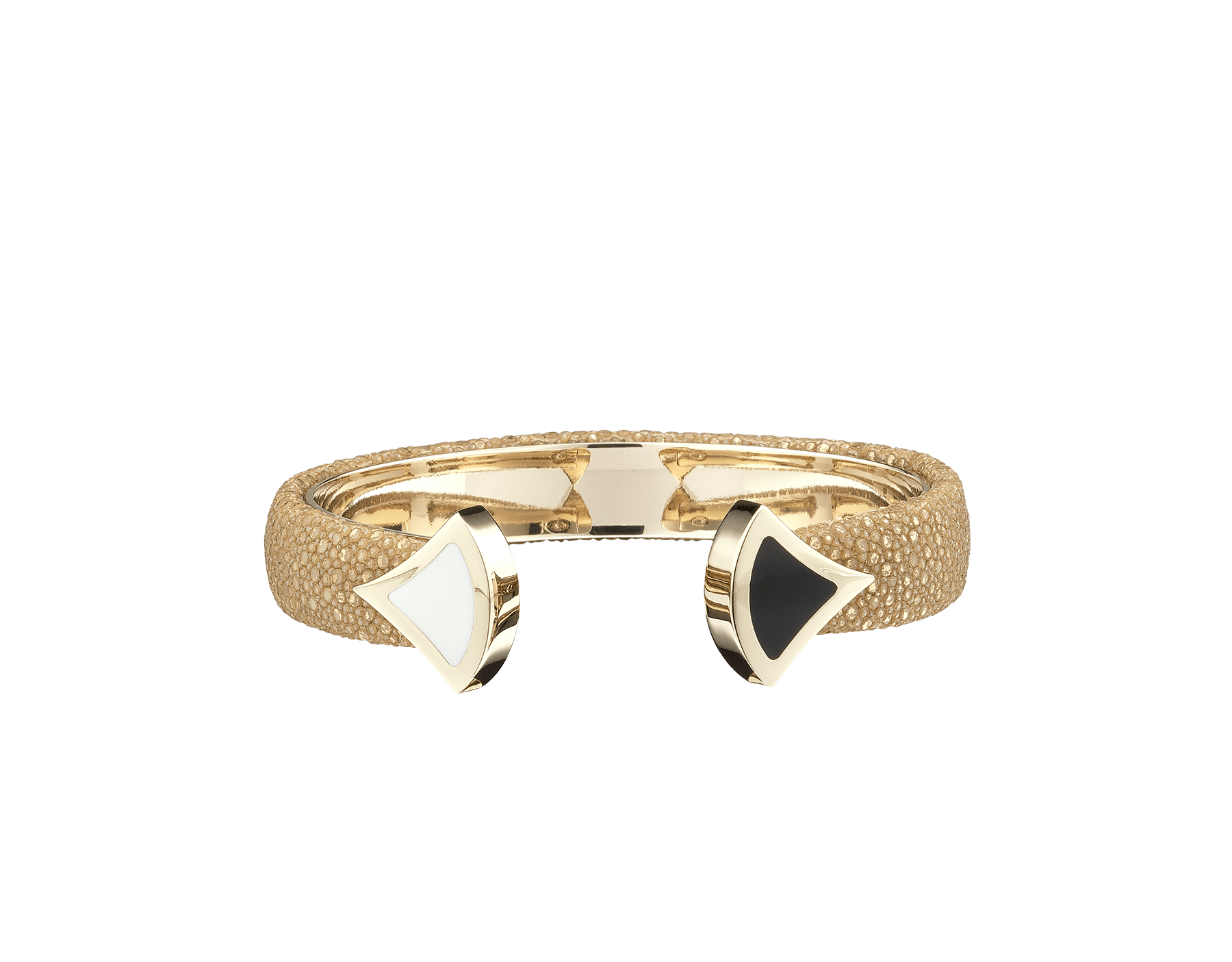 Bracelet in royal sapphire galuchat skin, with iconic contraire brass light gold plated DIVAS' DREAM motif in black and white enamel. DIVA-CONTRAIR-M image 2
