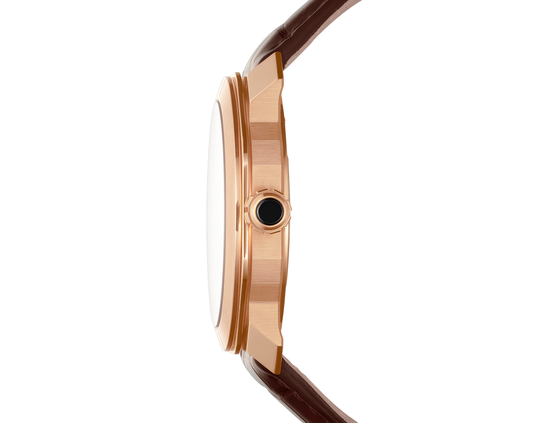Octo Roma watch with mechanical manufacture movement, automatic winding, 18 kt rose gold case, dark brown lacquered dial and brown alligator bracelet. 102702 image 3