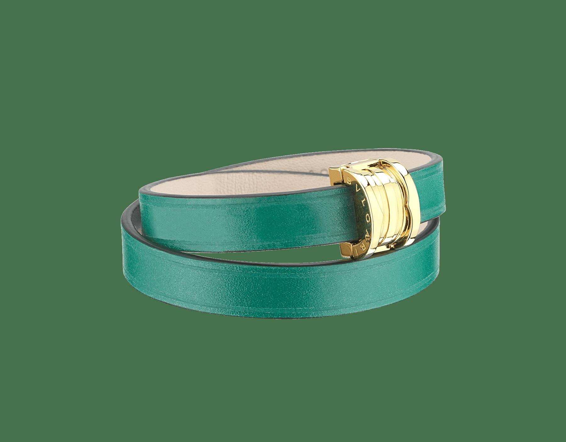 Doppelt geschwungenes BVLGARI BVLGARI Armband aus smaragdgrünem Kalbsleder mit BVLGARI BVLGARI Schnappverschluss aus hell vergoldetem Messing. BZERO1-CL-EG image 1