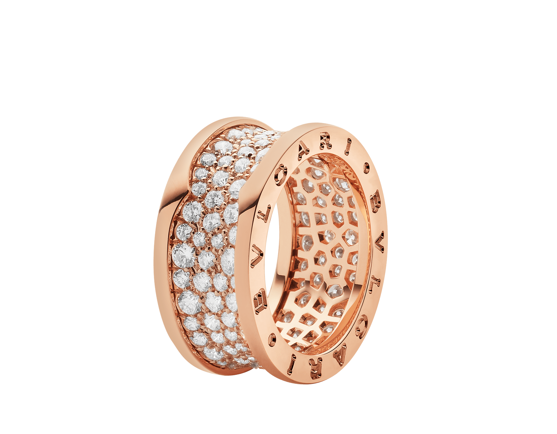 B.zero1 ring in 18 kt rose gold, set with pavé diamonds on the spiral. AN855553 image 1