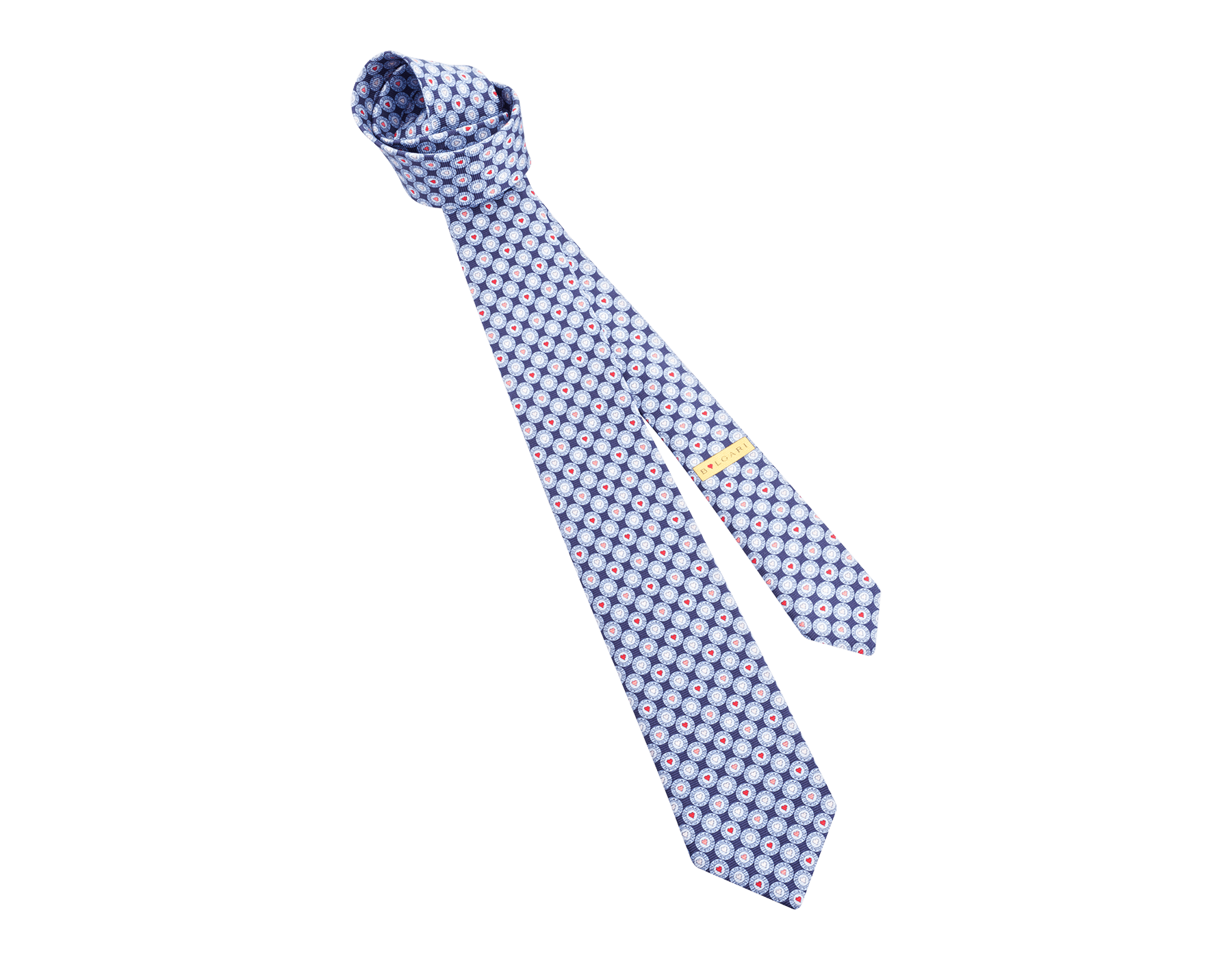 Light Blue Logo BB Heart pattern seven-fold tie in fine saglione printed silk. LogoBBHeart image 1