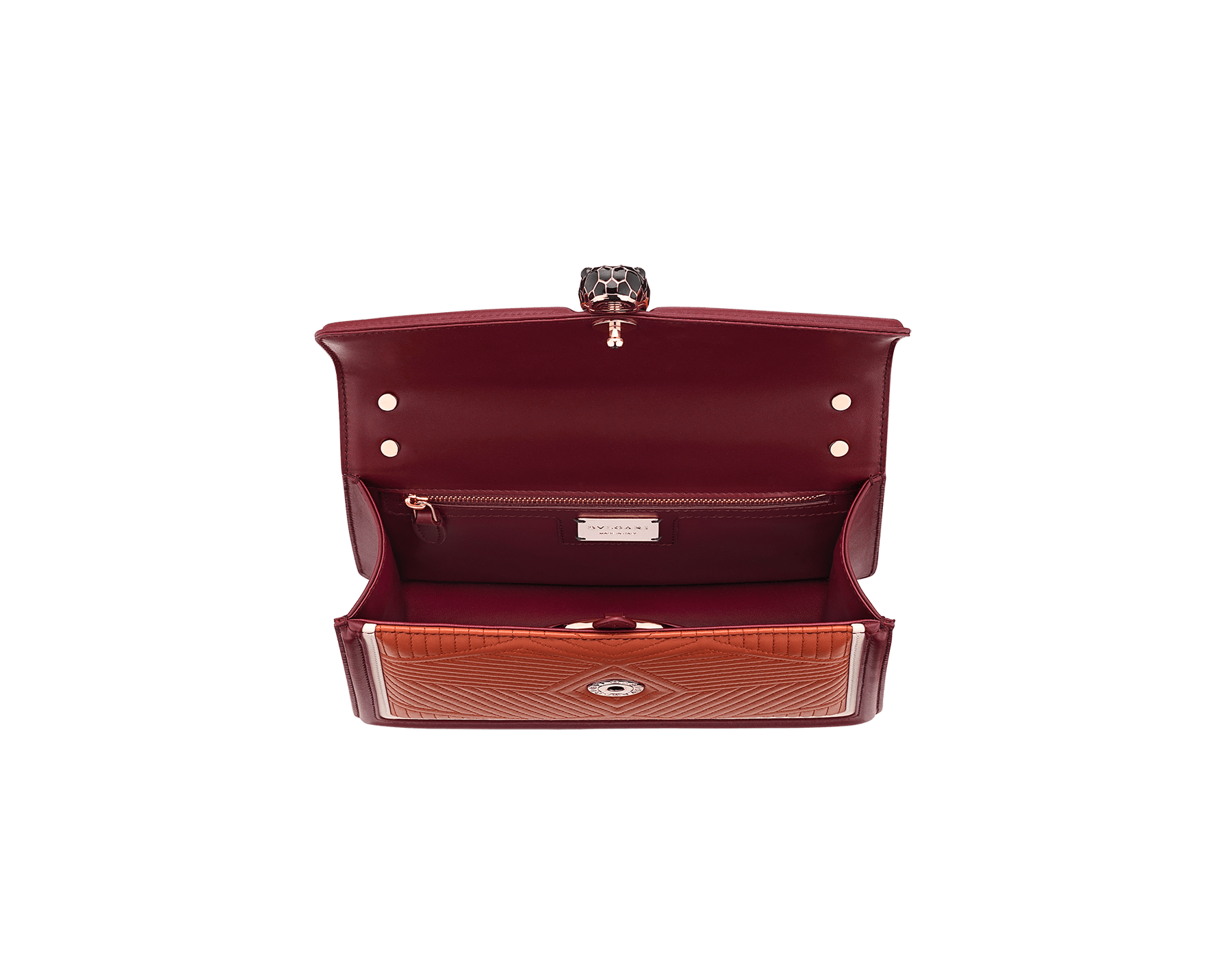 Serpenti Diamond Blast shoulder bag in imperial topaz quilted nappa leather with white agate and Roman garnet calf leather frames. Iconic snakehead closure in light gold plated brass embellished with Roman garnet and black enamel and black onyx eyes. 288827 image 4