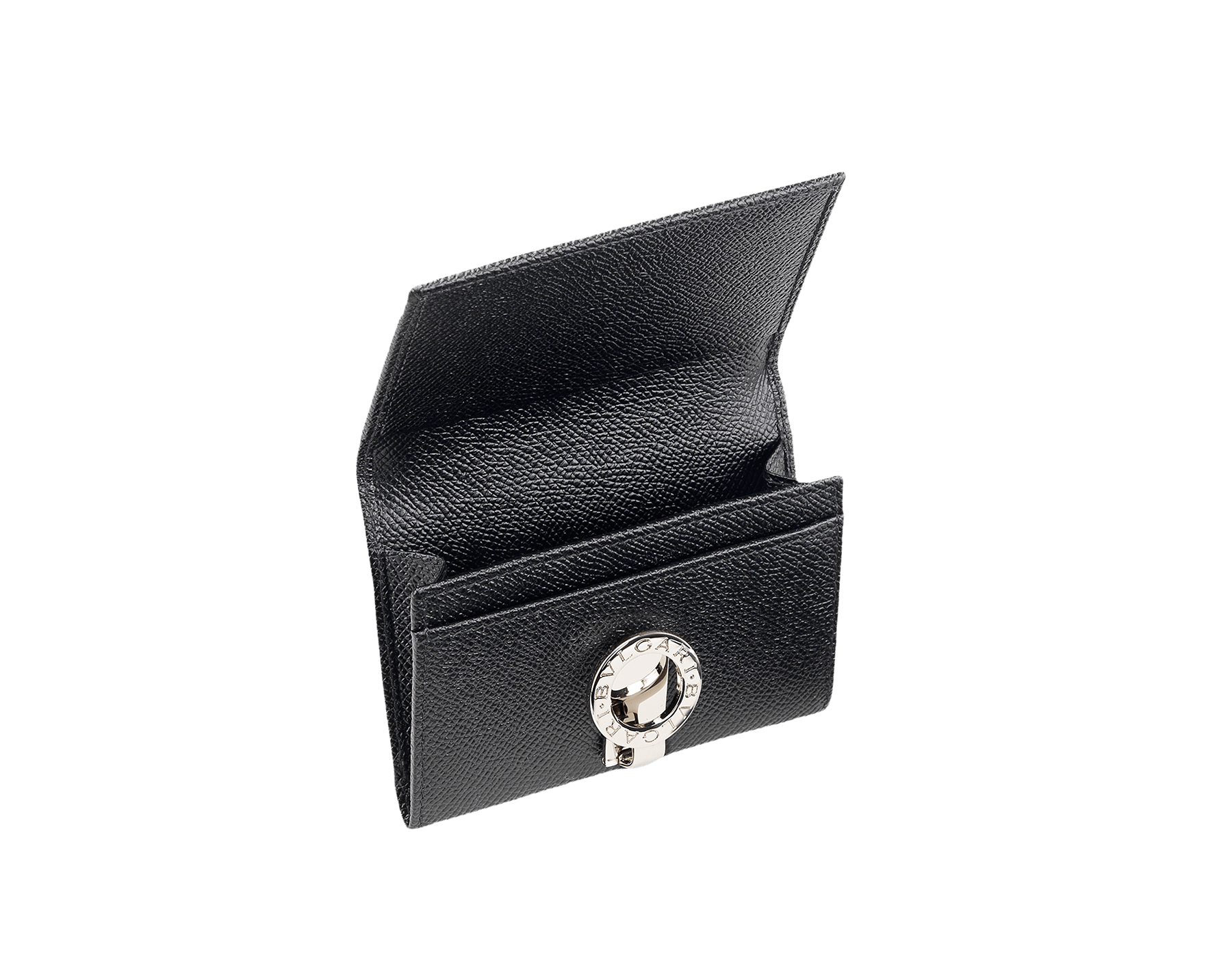 Black grain leather business card holder with iconic brass palladium plated clip featuring the Bulgari∙Bulgari motif. One internal gusset. Also available in other colours. 11 X 8 X 2 cm. - 4.3 x 3.2 x 0.8 30420 image 1