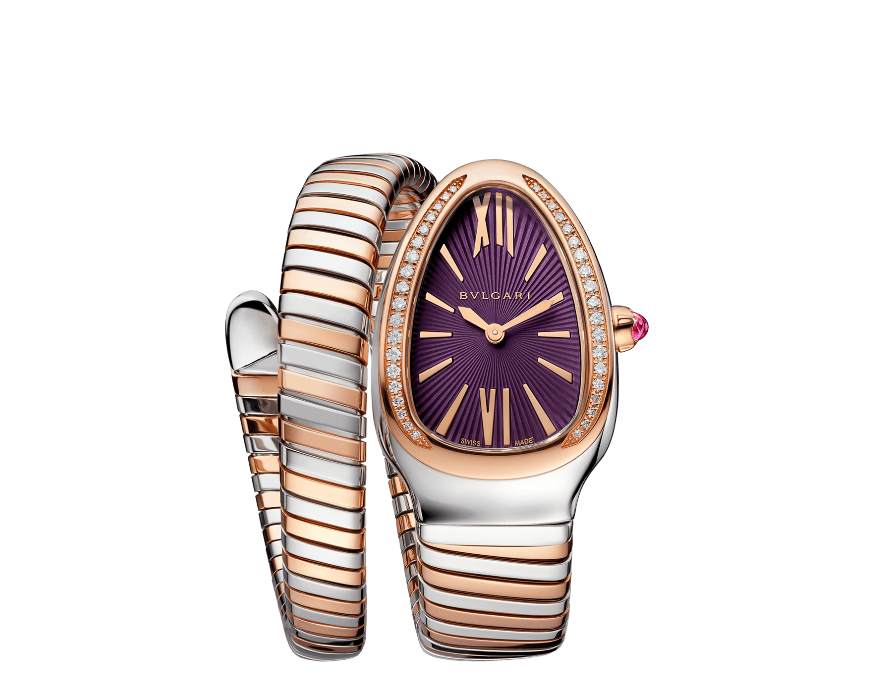 Serpenti Tubogas single spiral watch with stainless steel case, 18 kt rose gold bezel set with brilliant cut diamonds, violet lacquered dial, 18 kt rose gold and stainless steel bracelet. 102493 image 1