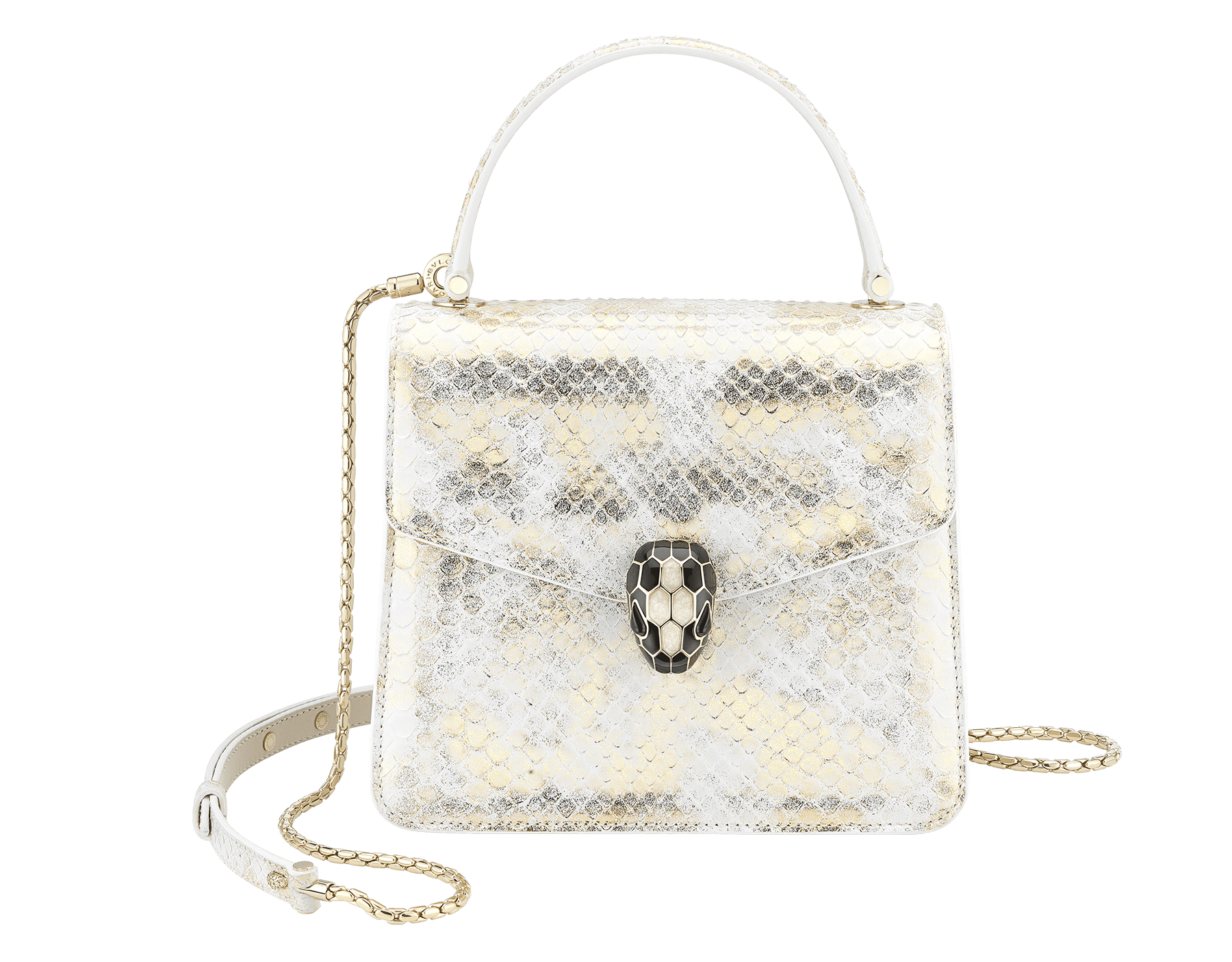 """Serpenti Forever"" crossbody bag in agate-white ""Camo"" python skin with Mimetic Jade green nappa leather inner lining. Alluring snakehead closure in light gold-plated brass enriched with black and pearly, agate-white enamel and black onyx eyes. 289828 image 1"
