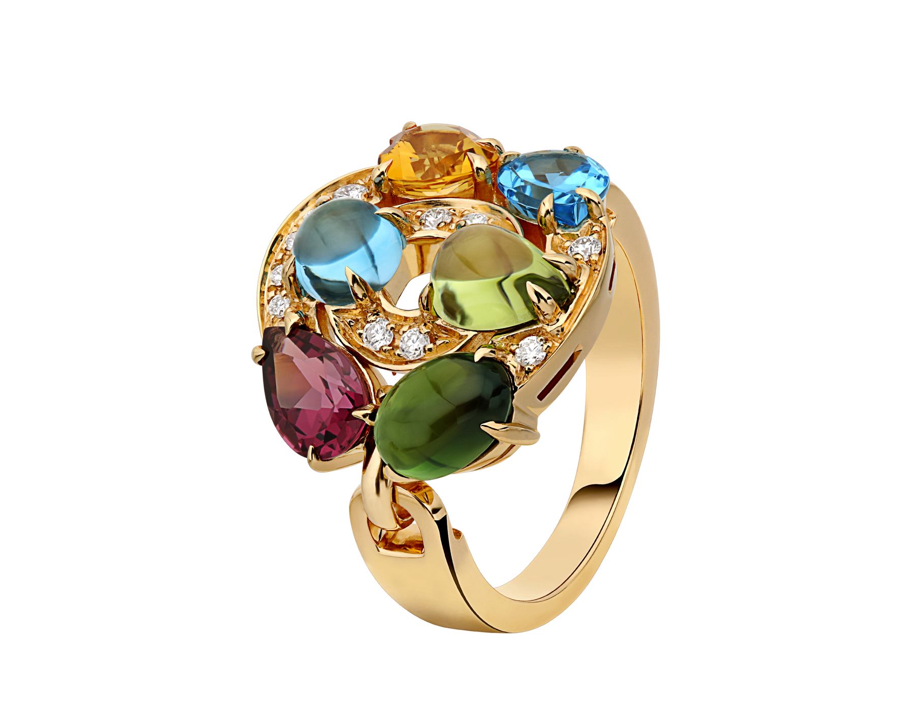 Cerchi shield-design 18 kt yellow gold ring set with blue topazes, green tourmaline, peridot, citrine quartz, rhodolite garnet and pavé diamonds AN852996 image 1
