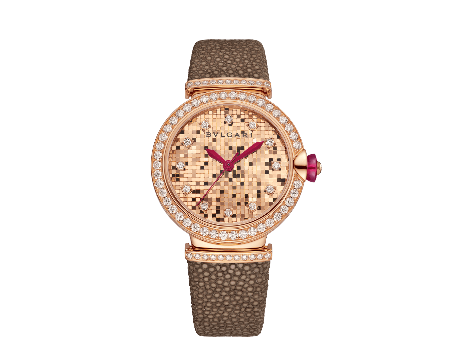 LVCEA watch with 18 kt rose gold case set with diamonds, 18 kt rose gold mosaic dial and bronze galuchat bracelet. 102799 image 1