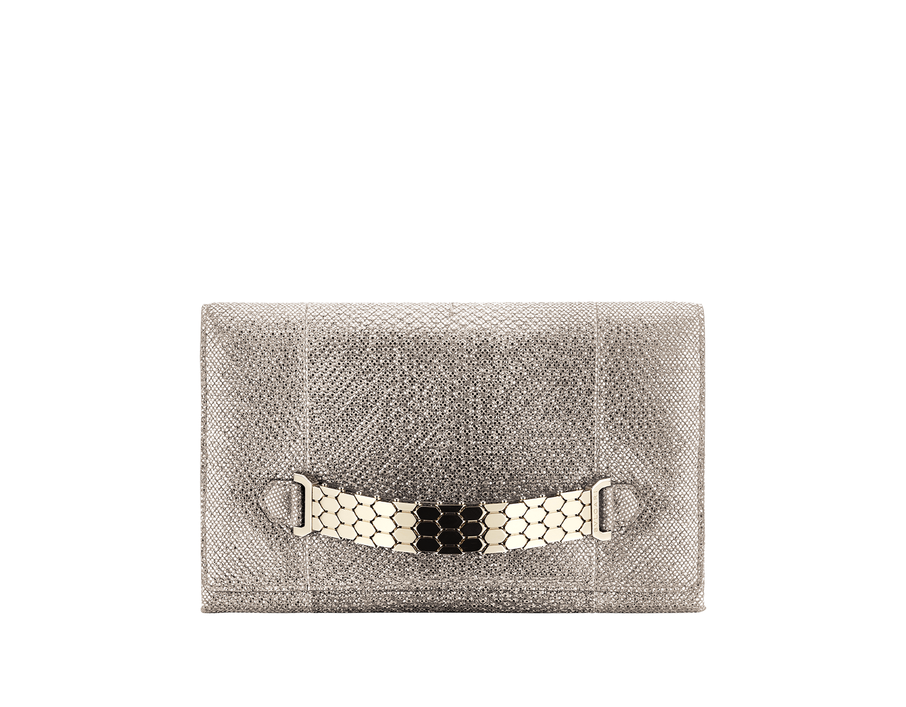 """Serpenti"" evening handle clutch bag in charcoal diamond metallic karung skin. Light gold Serpenti Seduttori handle. 526-HANDLECLUTCH image 1"