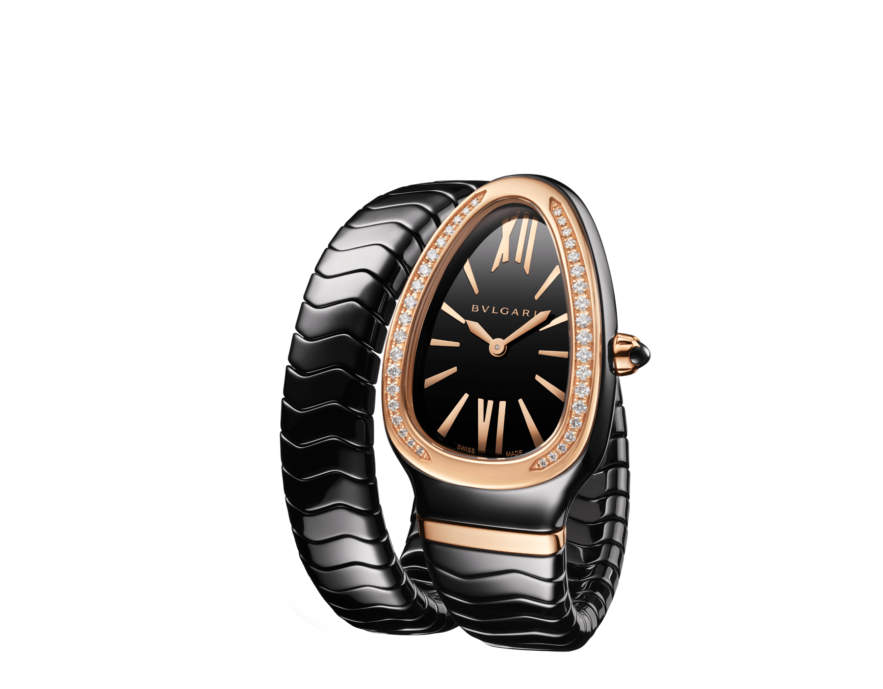 Serpenti Spiga single spiral watch with black ceramic case, 18 kt rose gold bezel set with brilliant cut diamonds, black lacquered dial, black ceramic bracelet with 18 kt rose gold elements. 102532 image 2