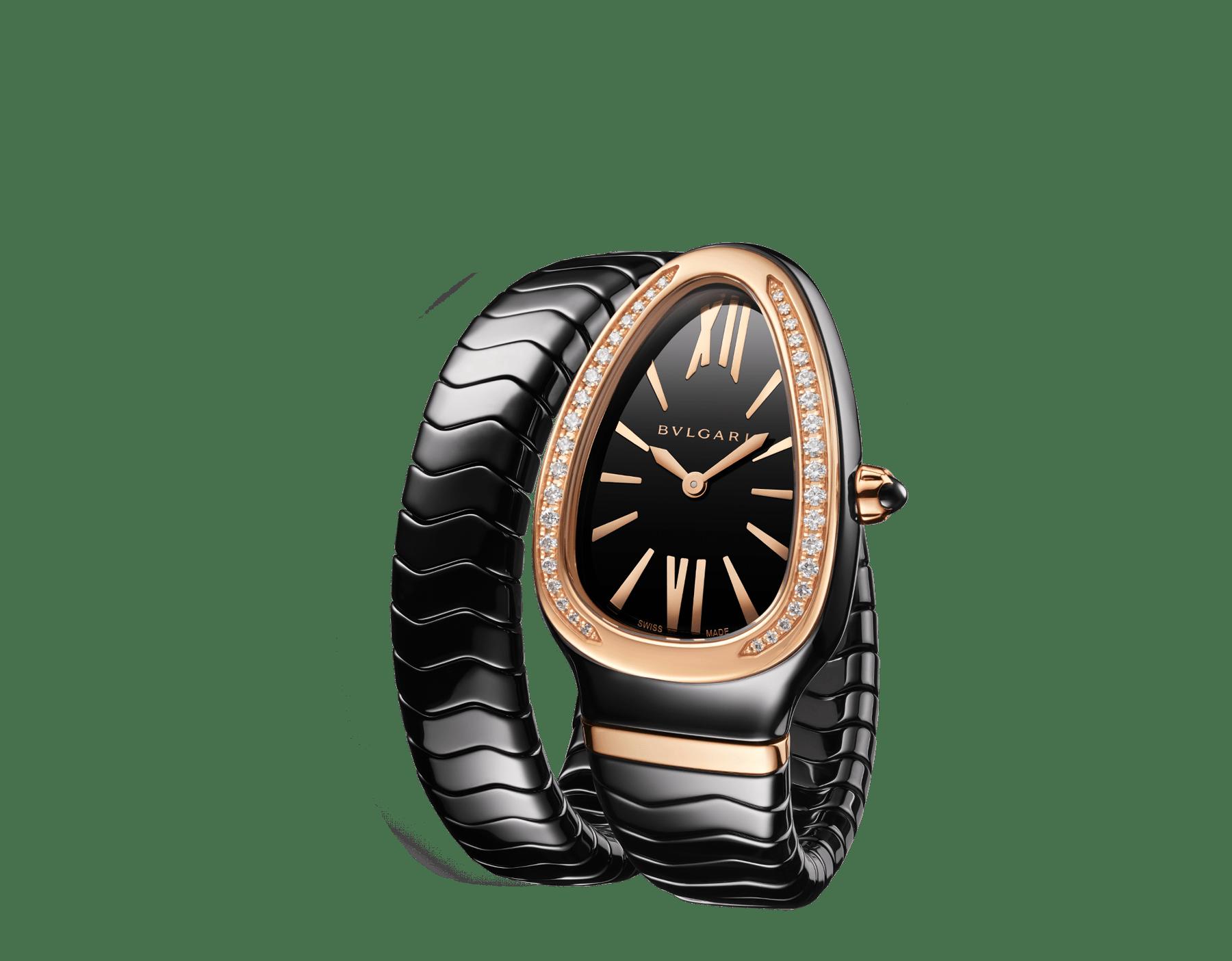 Montre Serpenti Spiga avec boîtier en céramique noire, lunette en or rose 18K sertie de diamants taille brillant, cadran laqué noir, bracelet une spirale en céramique noire avec éléments en or rose 18K. 102532 image 2