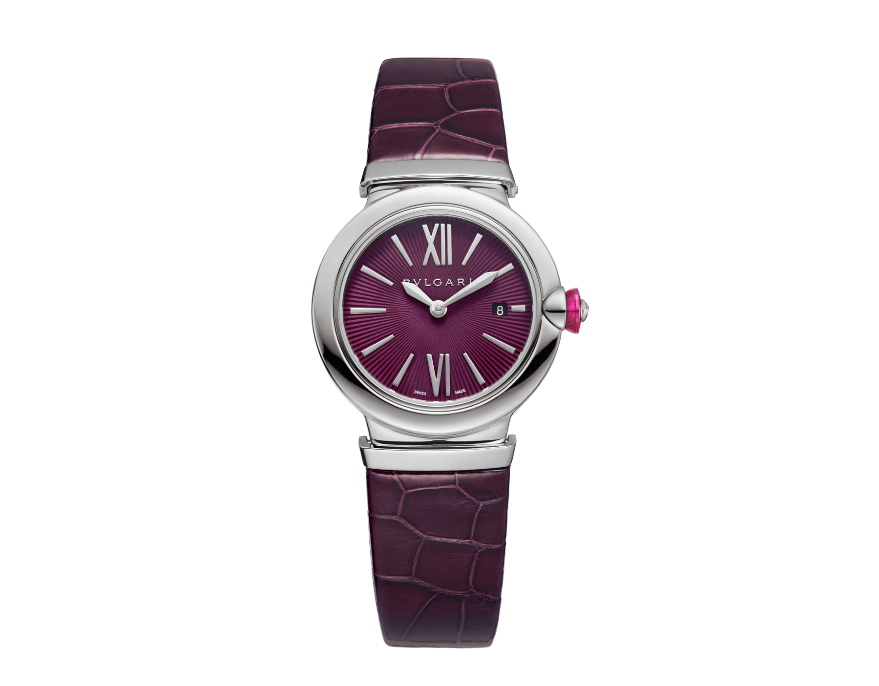 LVCEA watch with stainless steel case, violet dial and purple alligator bracelet. 102566 image 1
