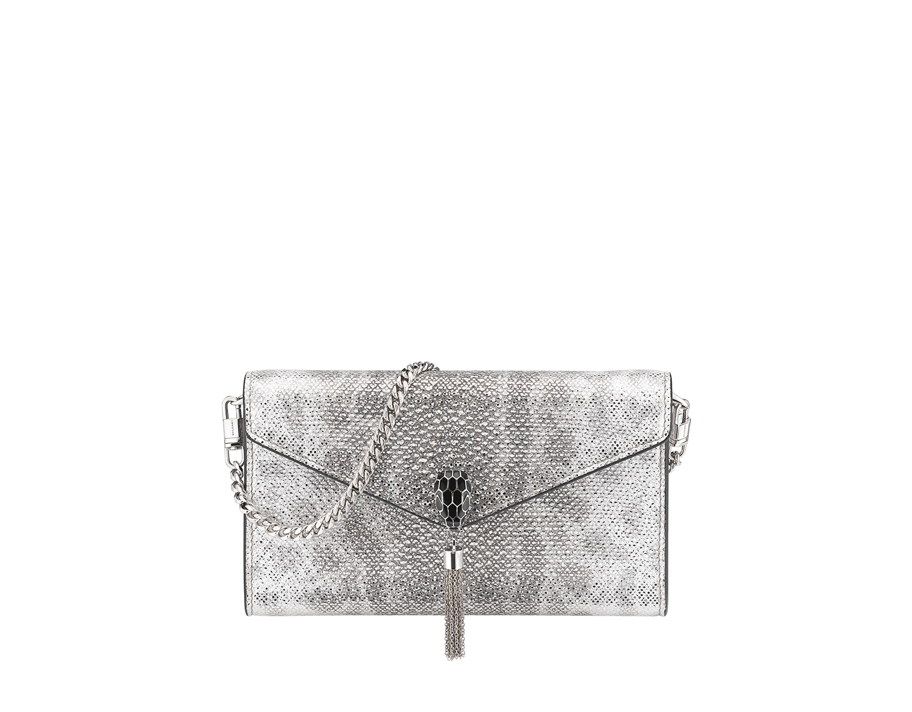 """Serpenti Forever"" small pochette in white agate metallic karung skin and black nappa leather. Iconic snakehead stud closure with tassel in palladium plated brass, enamelled in matte and shiny black and finished with black enamel eyes. SMALLPOCHETTE-KARUNG image 1"