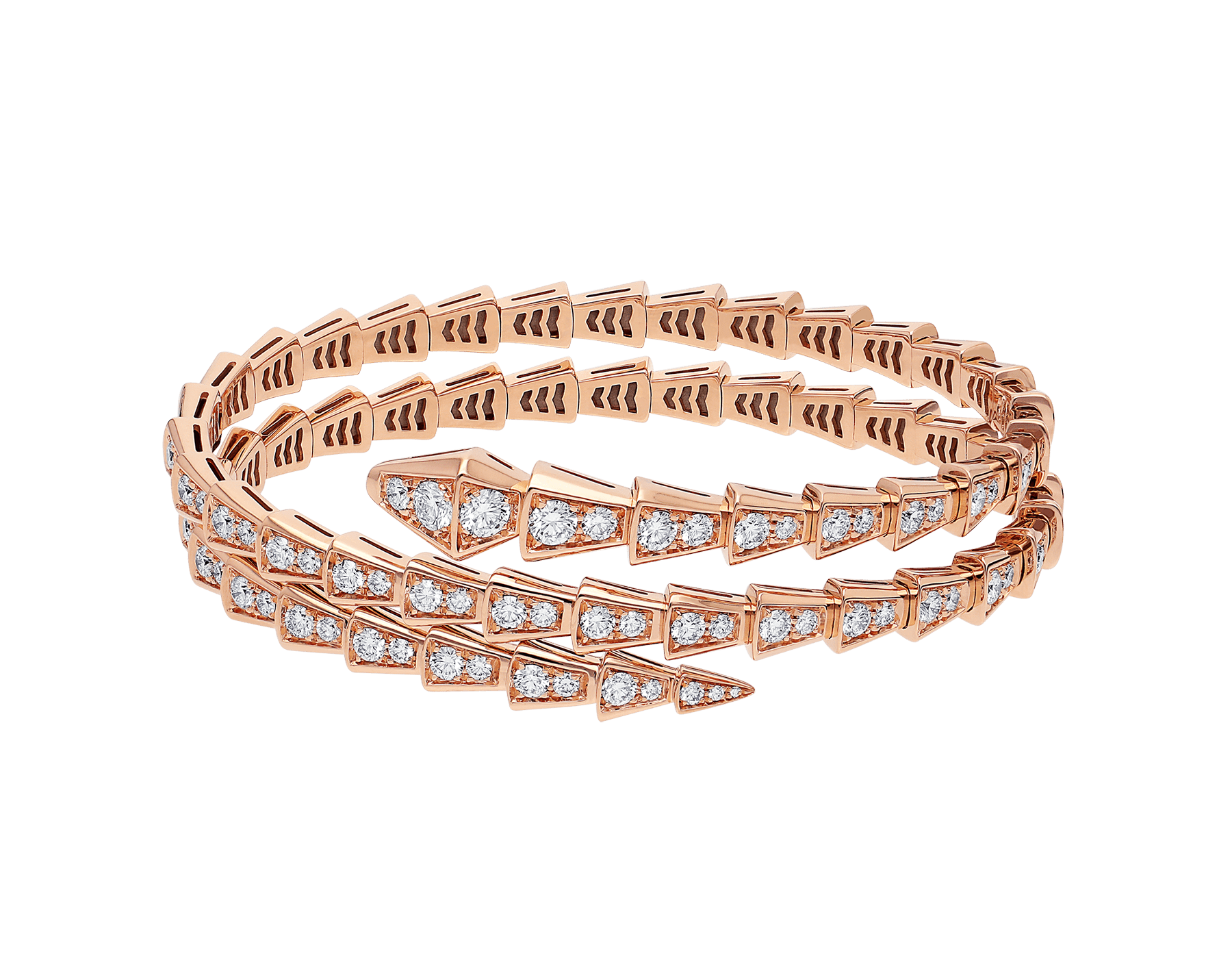 Serpenti Viper two-coil 18 kt rose gold bracelet set with pavé diamonds BR858796 image 2