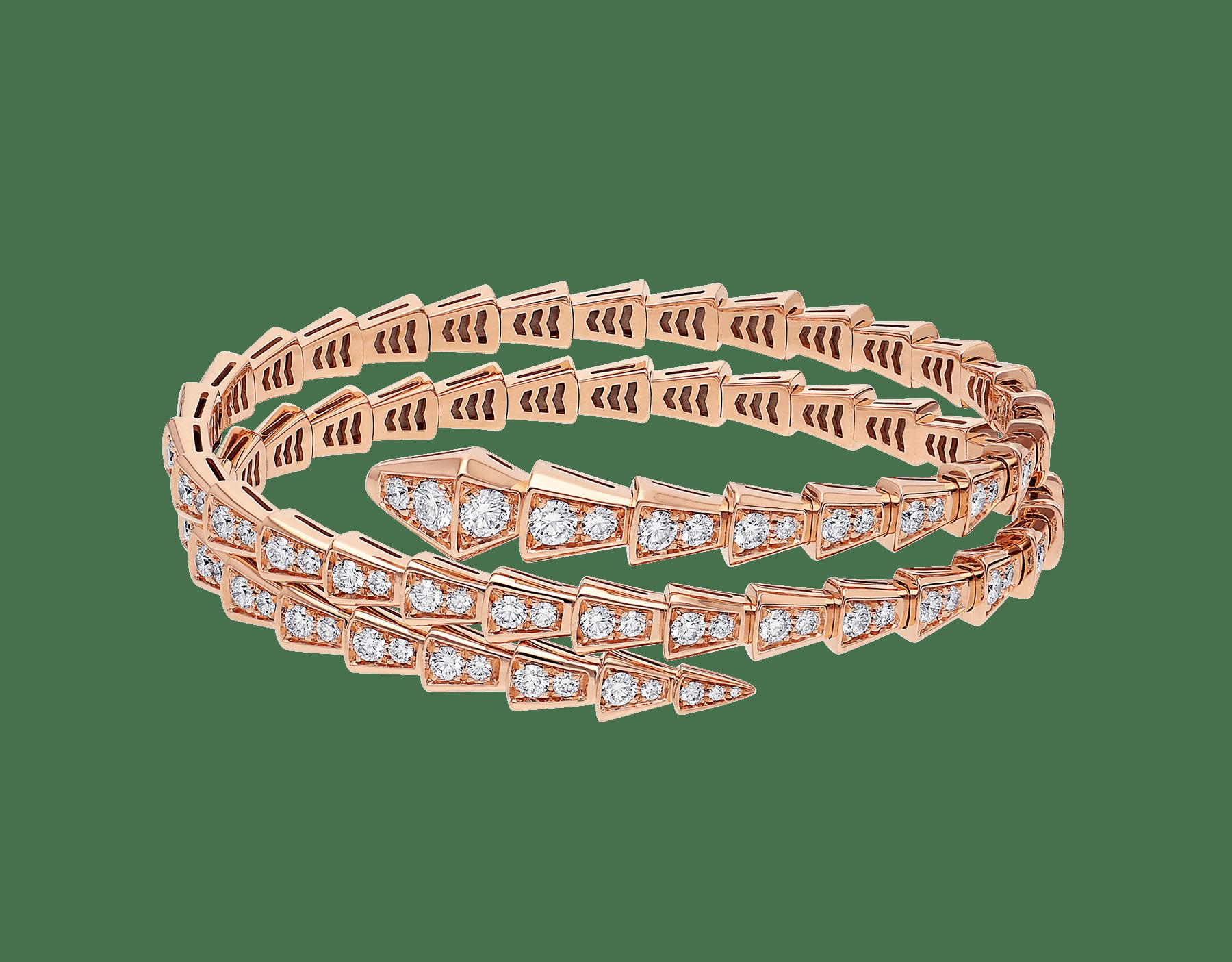Bracciale Serpenti Viper a doppia spirale in oro rosa 18 kt con pavé di diamanti. BR858796 image 2