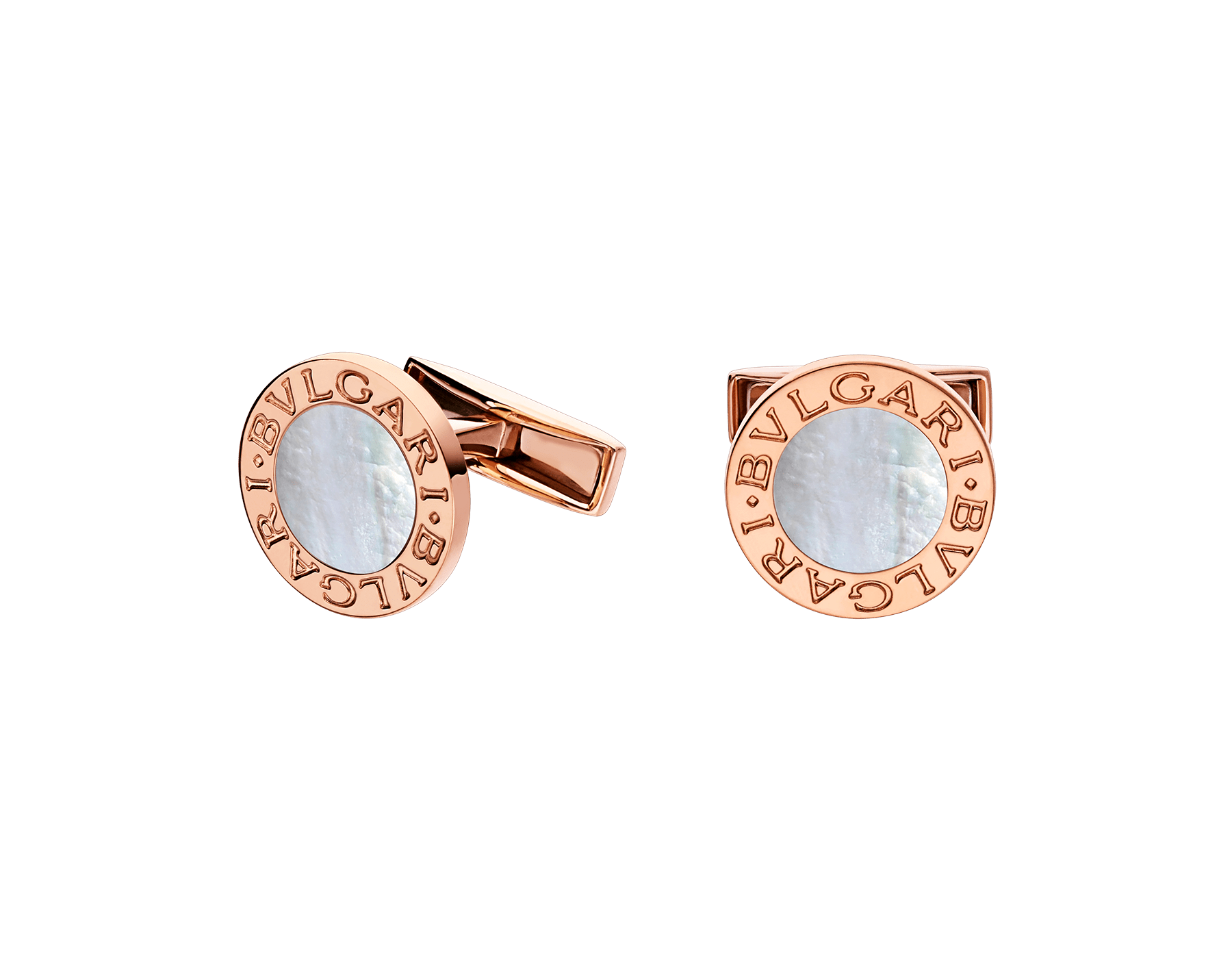 BVLGARI BVLGARI 18kt rose gold cufflinks set with mother-of-pearl elements 344428 image 1