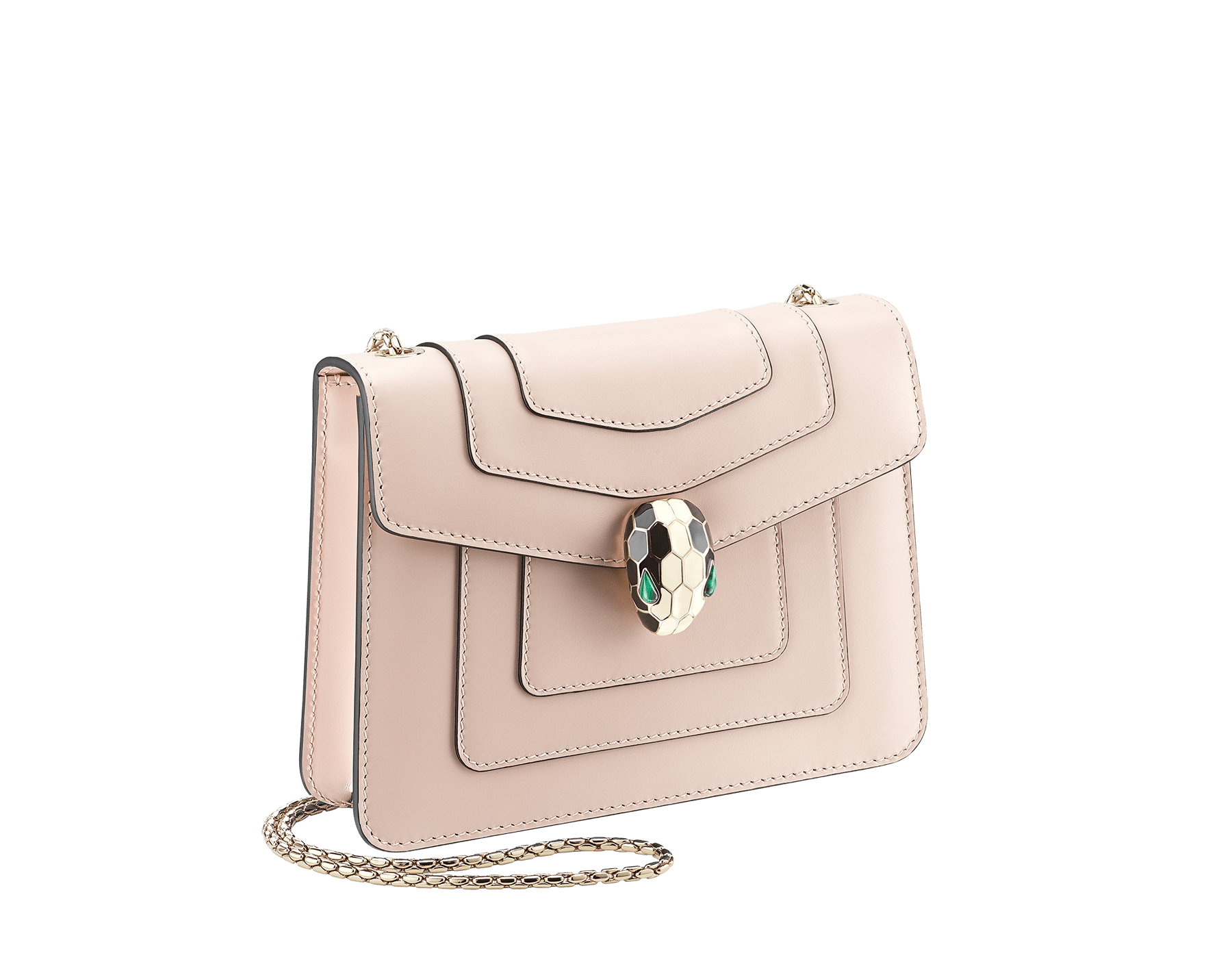 """Serpenti Forever"" crossbody bag in crystal rose calf leather. Iconic snakehead closure in light gold plated brass enriched with black and white enamel and green malachite eyes 287017 image 2"