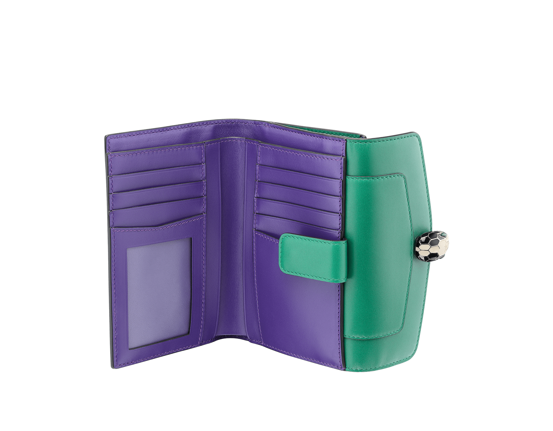 Compact pochette in emerald green calf leather, violet amethyst calf leather and amethyst purple nappa lining. Brass light gold plated Serpenti head stud closure with green malachite eyes. 282665 image 2