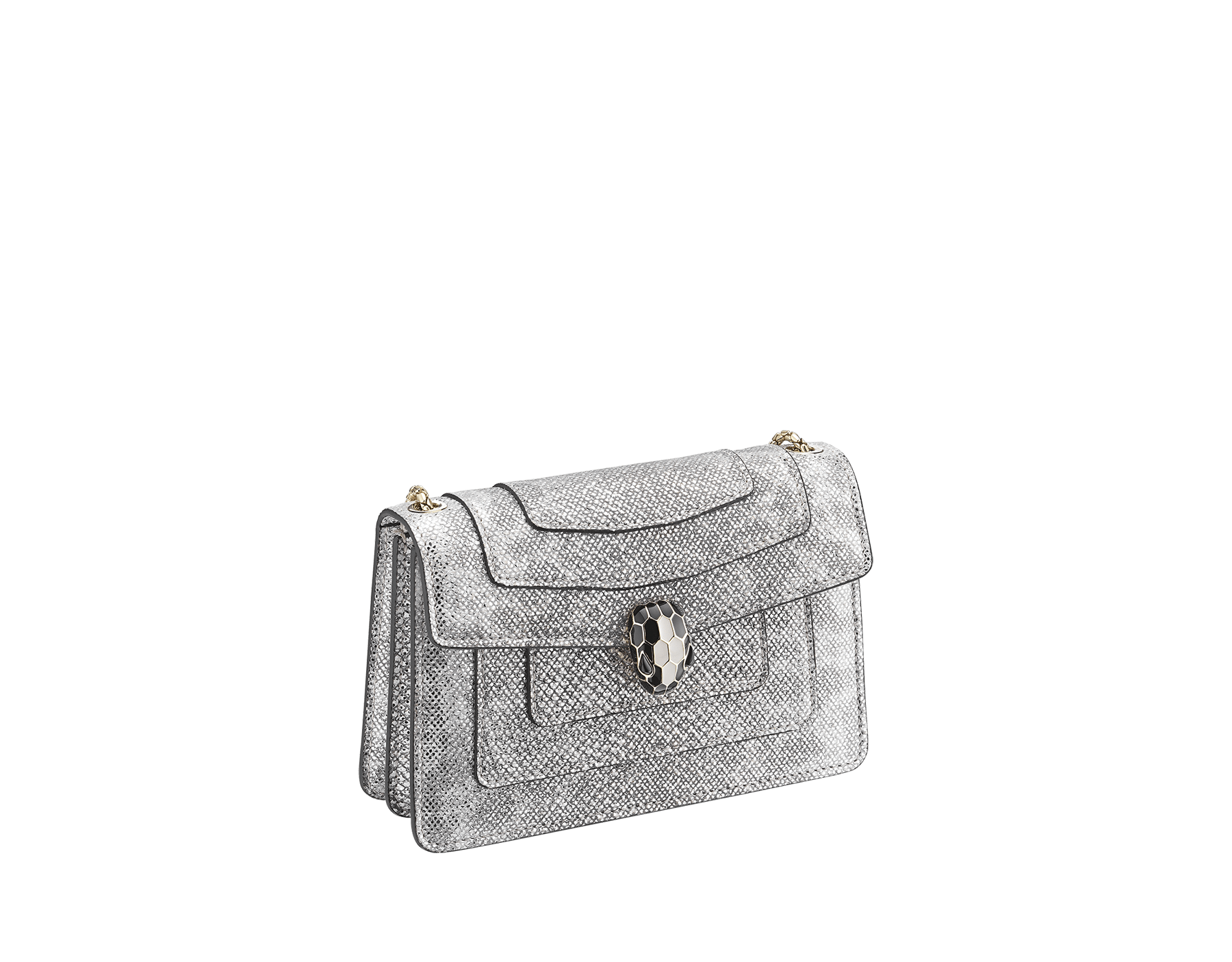 Serpenti Forever mini crossbody bag in white agate metallic karung skin. Brass light gold-plated snake head closure in black and white enamel with black onyx eyes. 986-MK image 2