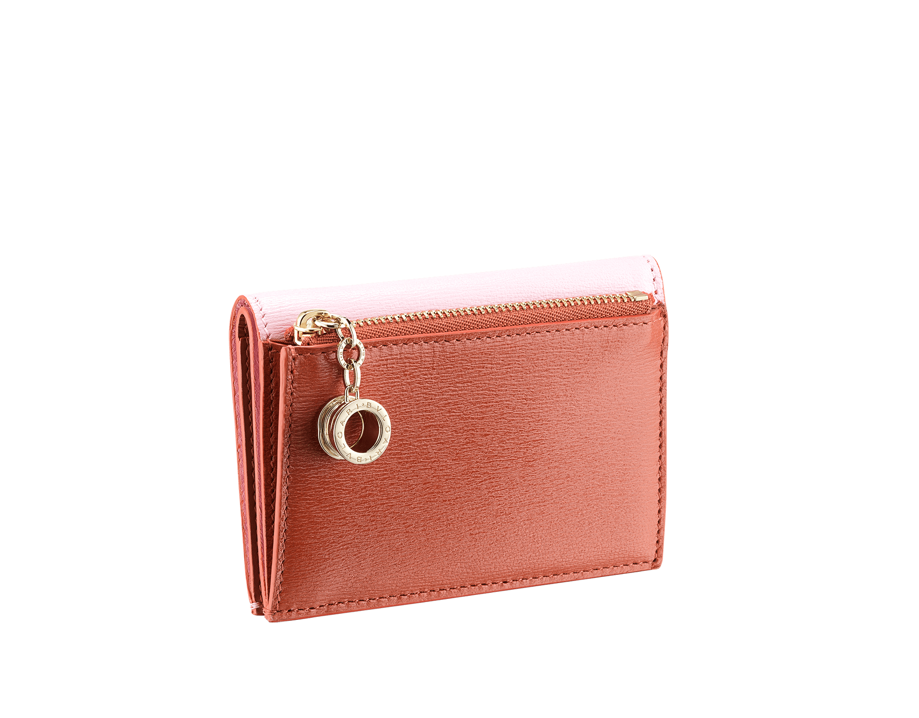 B.zero1 double folded credit card holder in rosa di francia and imperial topaz goatskin. Iconic B.zero1 charm in light gold plated brass. 289086 image 3