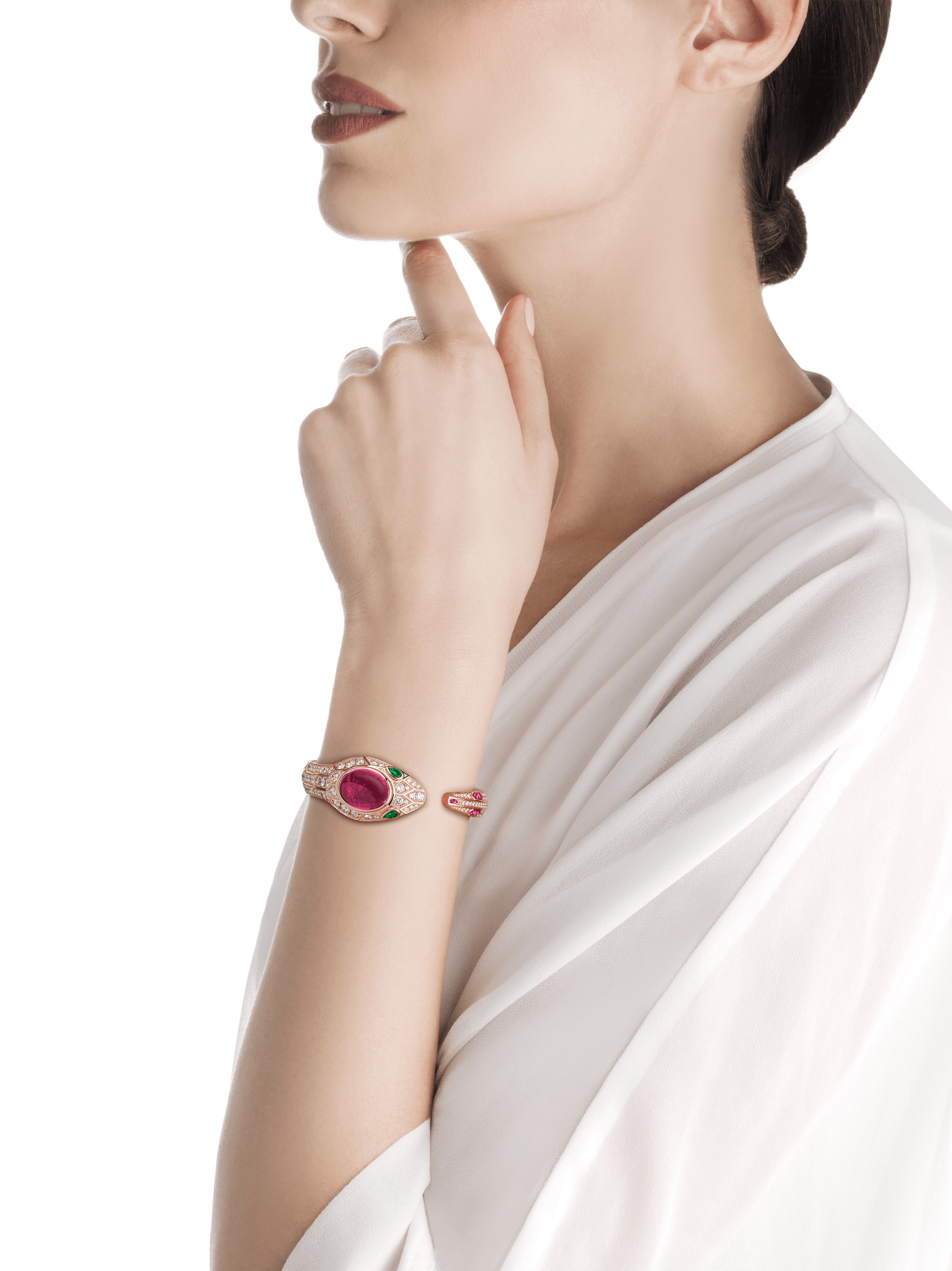 Serpenti Seduttori watch with 18 kt rose gold case and dial, 18 kt rose gold head set with brilliant cut diamonds, one cabochon cut tourmaline and emerald eyes, 18 kt rose gold bracelet set with brilliant cut diamonds and tourmalines. 102616 image 4