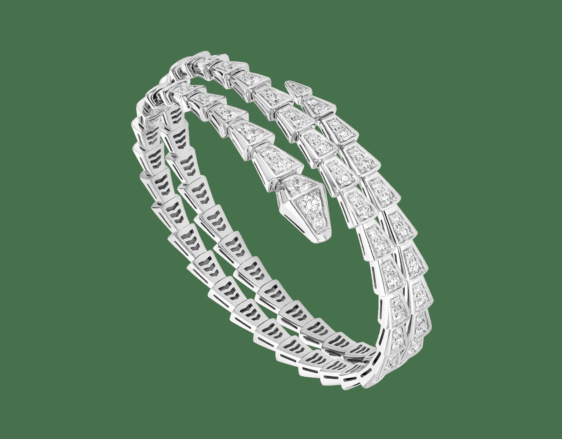 Bracelet deux tours Serpenti Viper en or blanc 18K avec pavé diamants BR858795 image 1