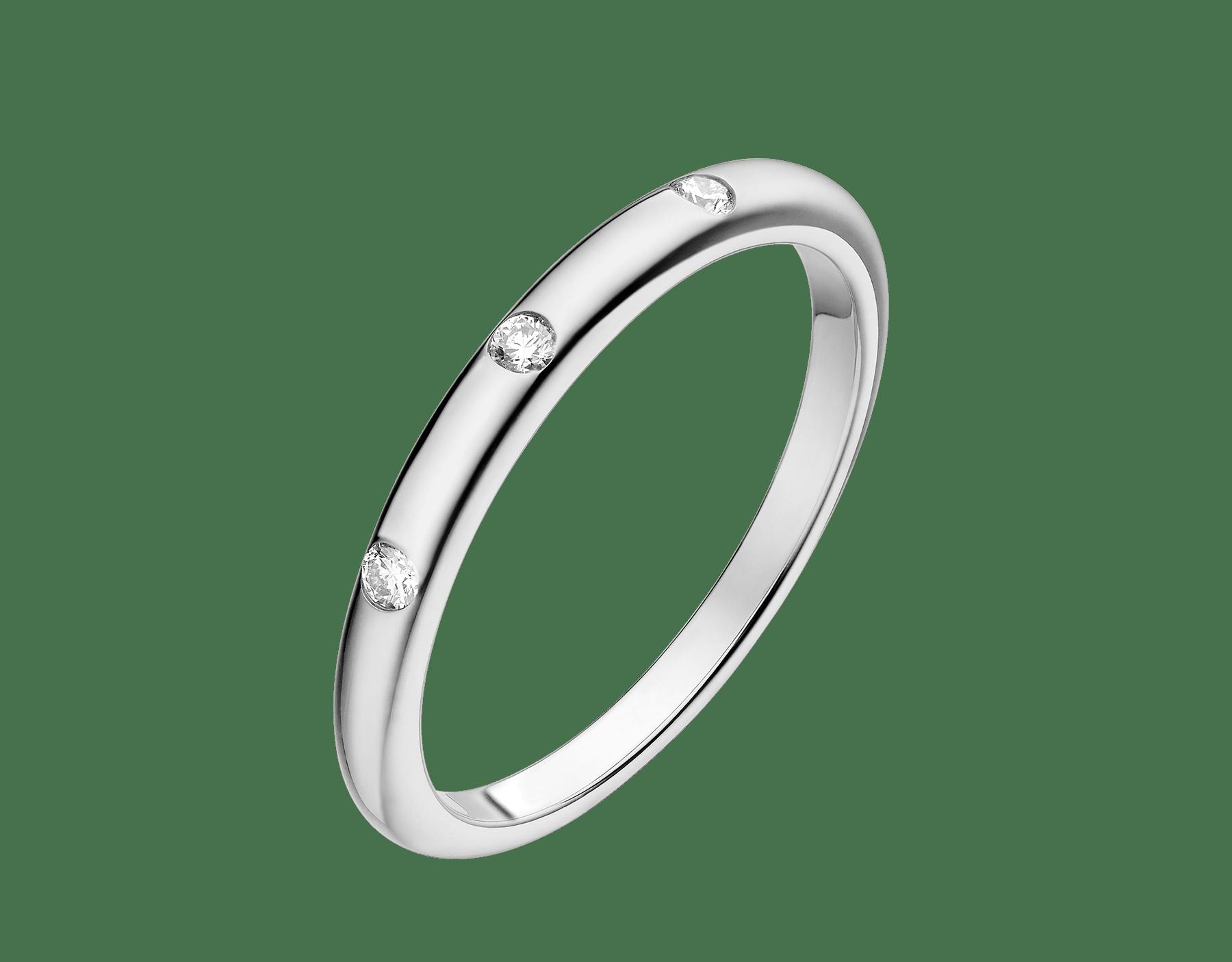 Aliança de casamento Fedi em platina cravejada com três diamantes AN857433 image 1
