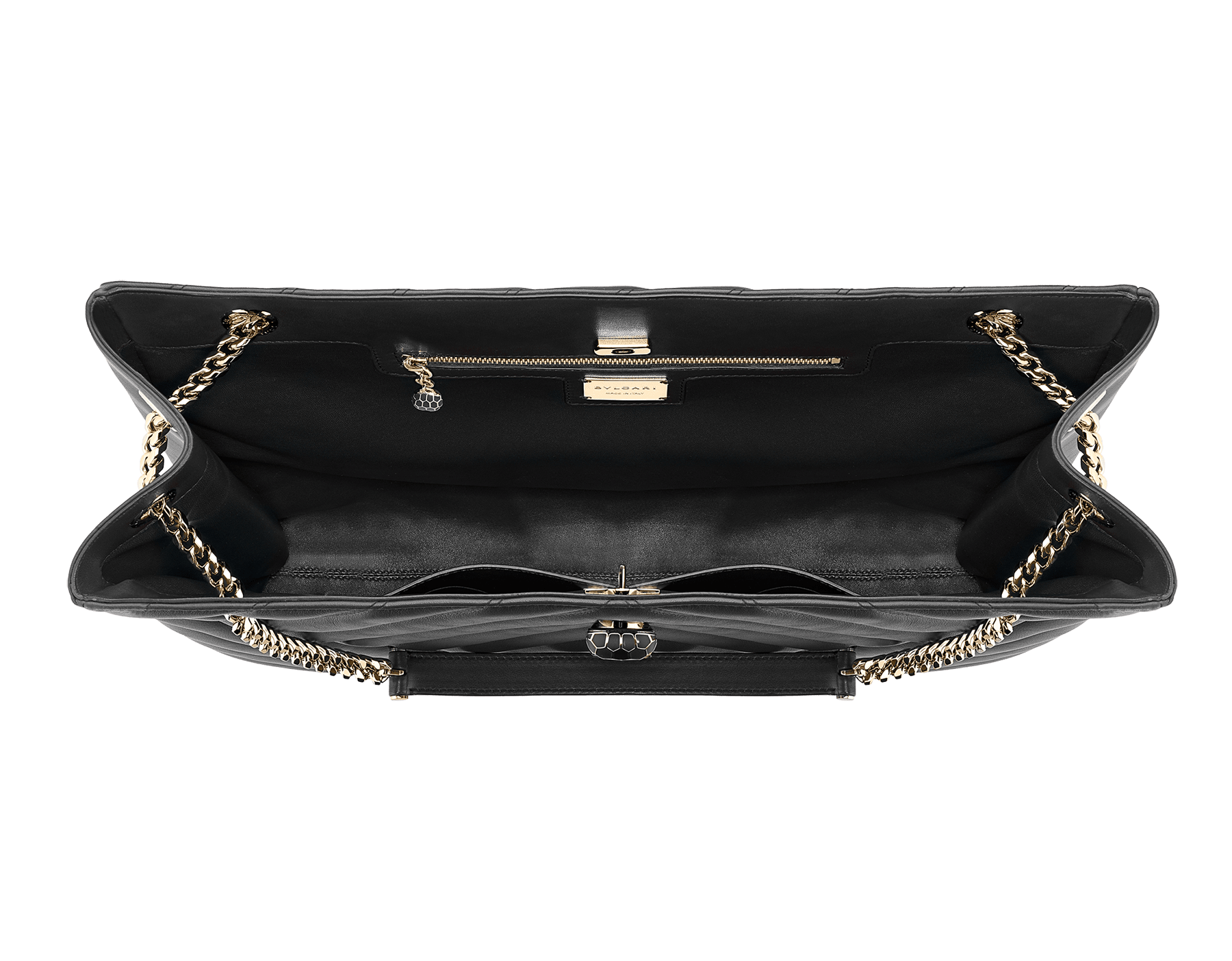 Serpenti Cabochon tote bag in soft matelassé black nappa leather with graphic motif and black calf leather. Snakehead decòr in rose gold plated brass embellished with matte black and shiny black enamel, and black onyx eyes. 287996 image 4