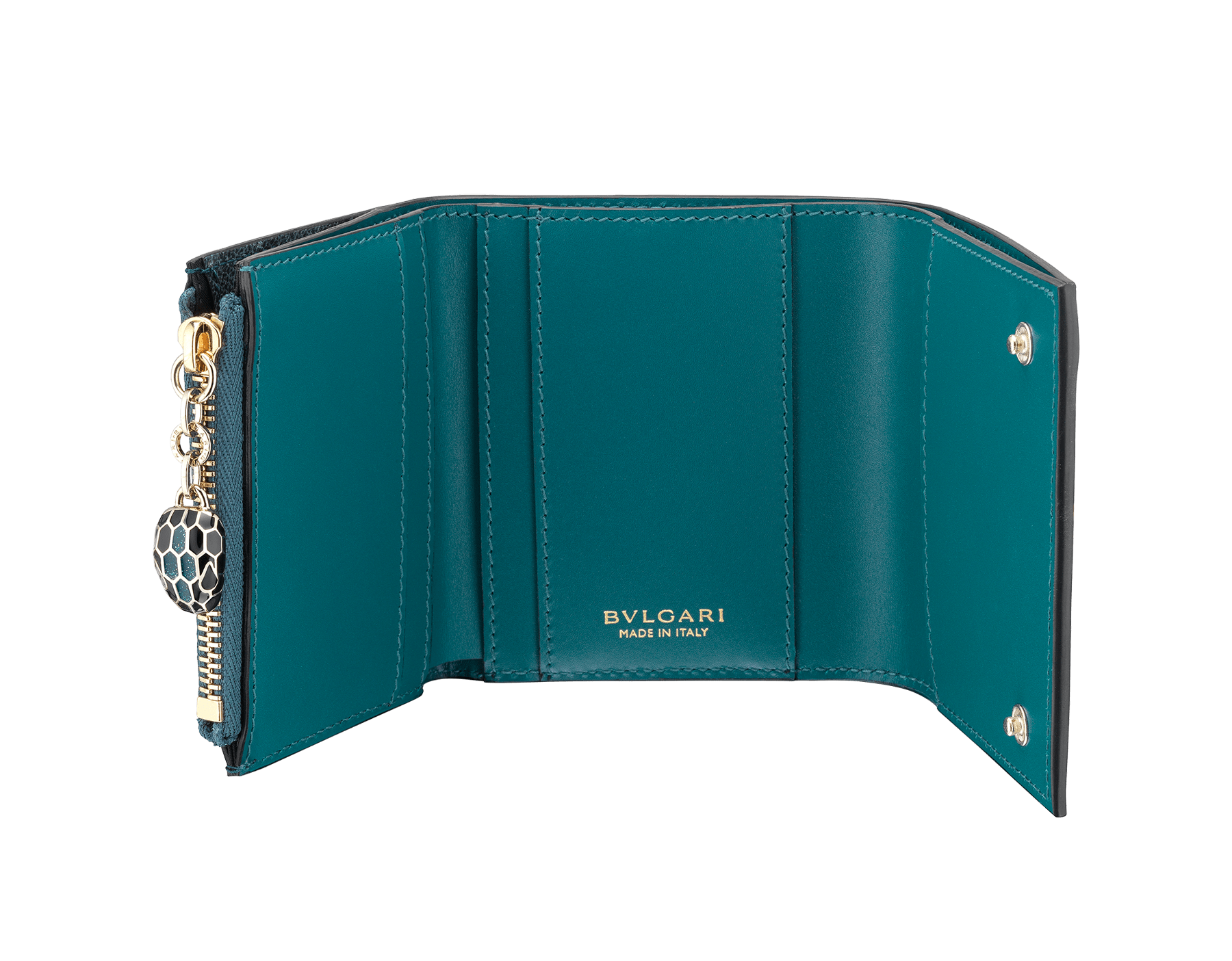 Serpenti Forever super compact wallet in milky opal metallic karung skin and milky opal calf leather. Iconic snakehead stud closure in black and glitter milky opal enamel, with black enamel eyes. SEA-SUPERCOMPACT-MK image 2
