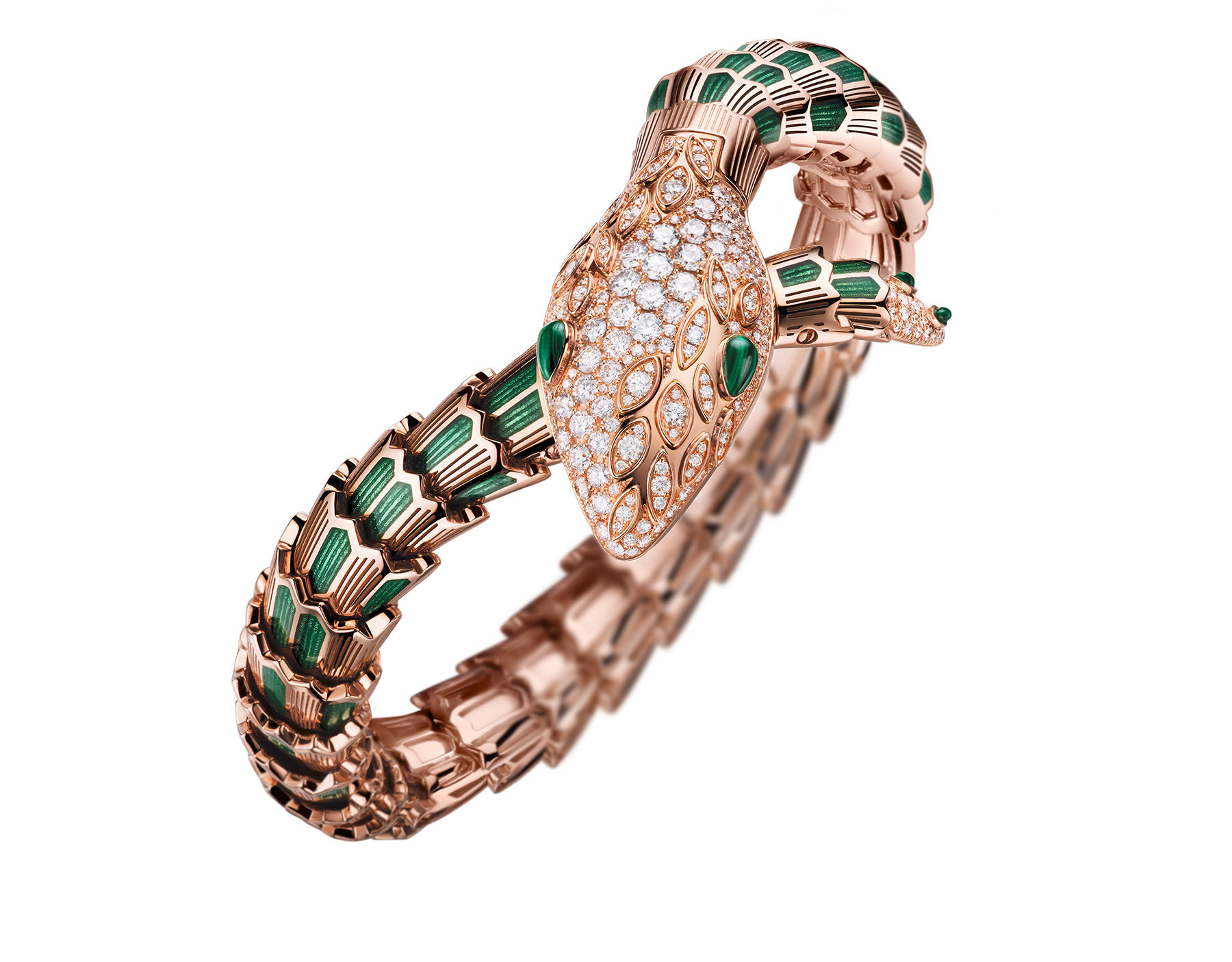Serpenti Secret Watch with 18 kt rose gold head set with brilliant cut diamonds and malachite eyes, 18 kt rose gold case, 18 kt rose gold dial and single spiral bracelet, both set with brilliant cut diamonds, malachites and green enamel. 102240 image 2
