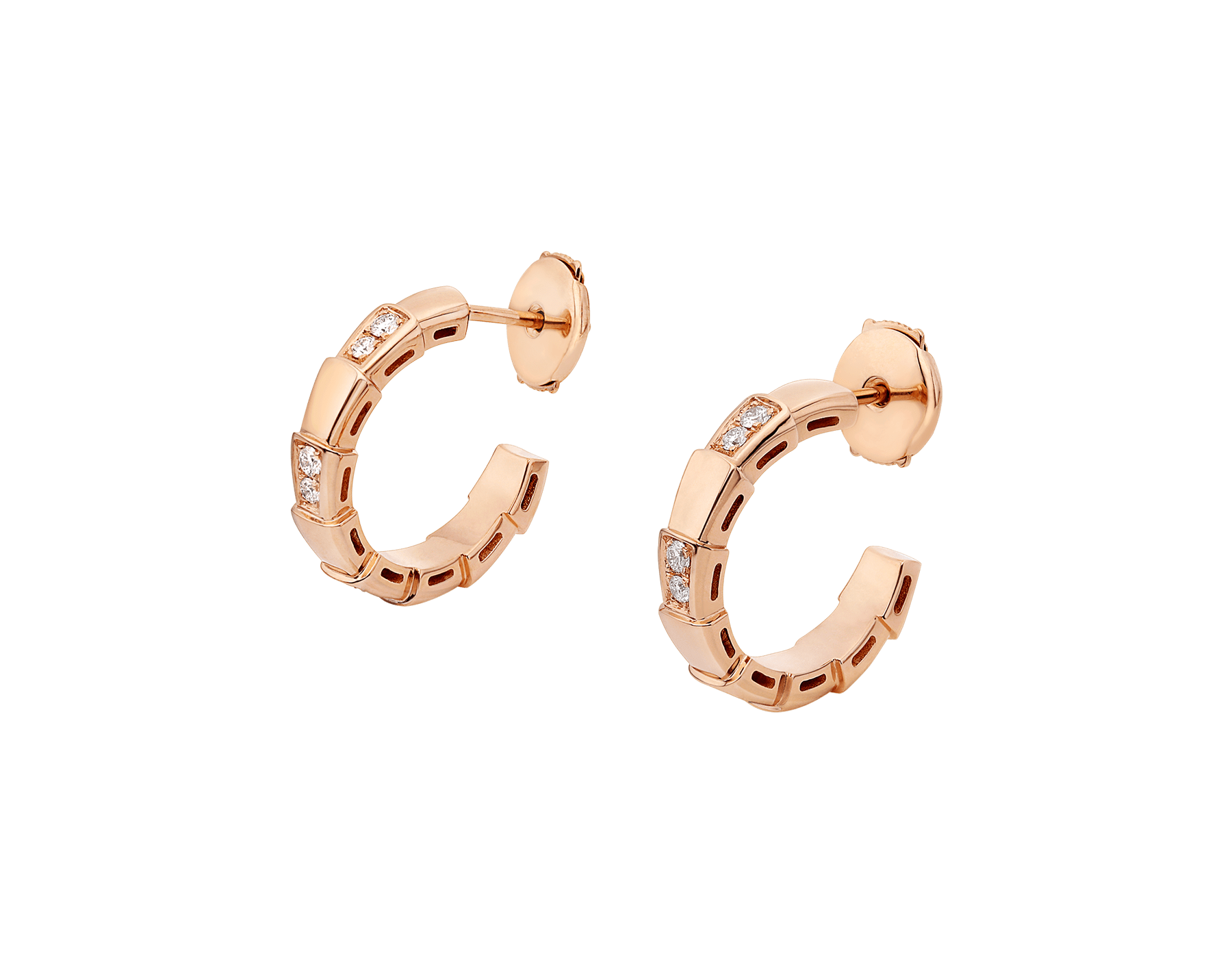 Serpenti Viper 18 kt rose gold earrings set with pavé diamonds. 356175 image 2
