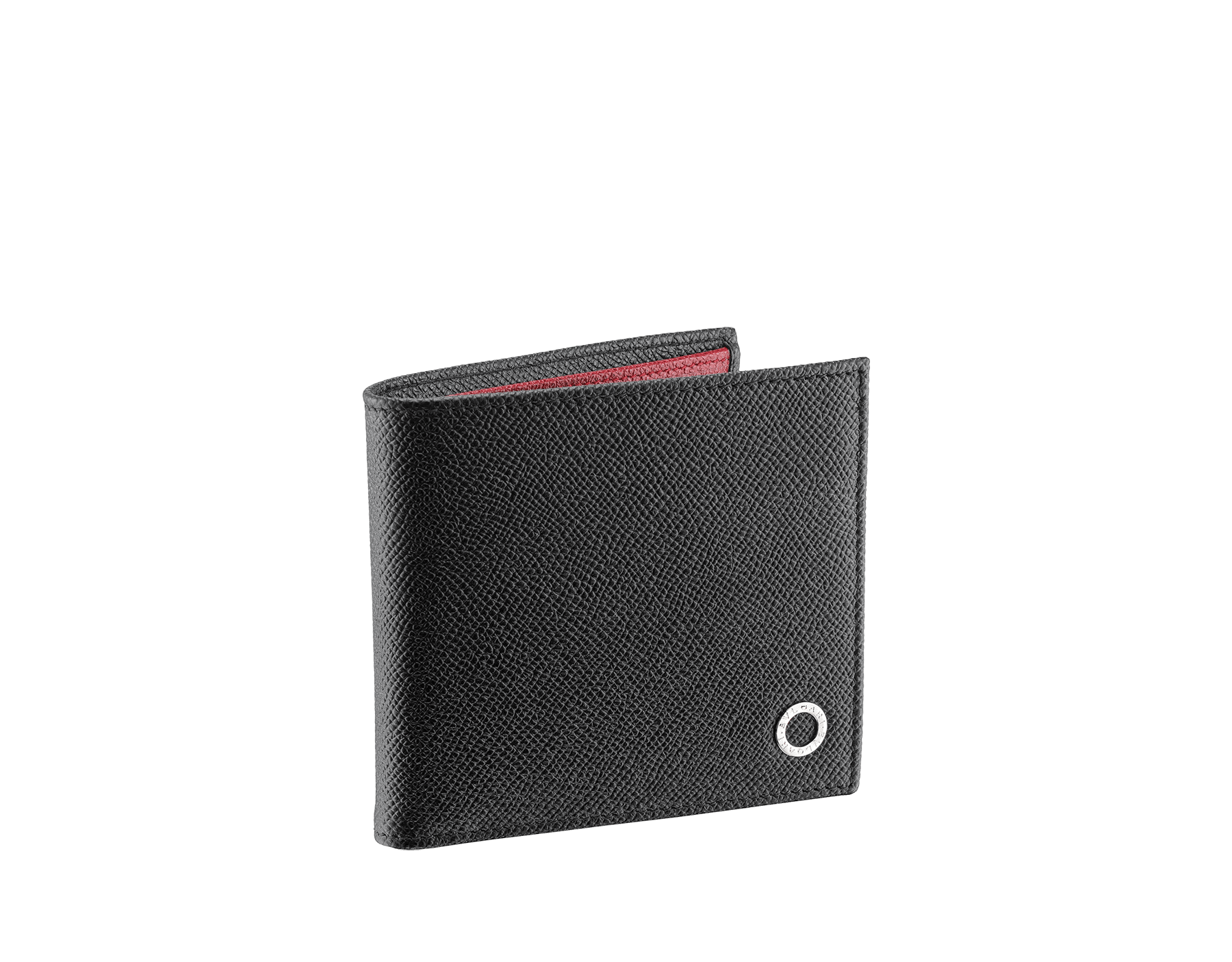 BVLGARI BVLGARI man wallet in black and ruby dahlia grain calf leather and black nappa lining. Iconic logo décor in palladium plated brass. 288273 image 1