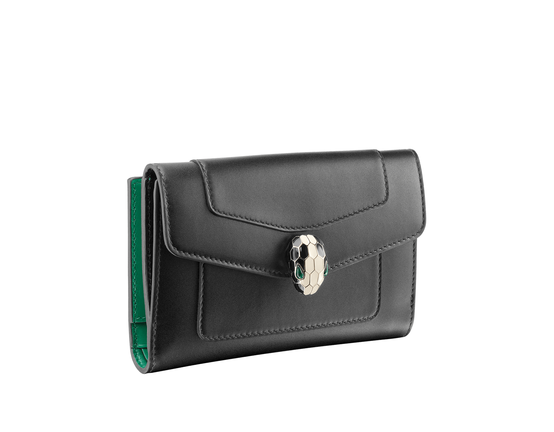 Compact pochette in black calf leather, emerald green calf leather and malachite nappa lining. Brass light gold plated Serpenti head stud closure with green malachite eyes. 282664 image 1