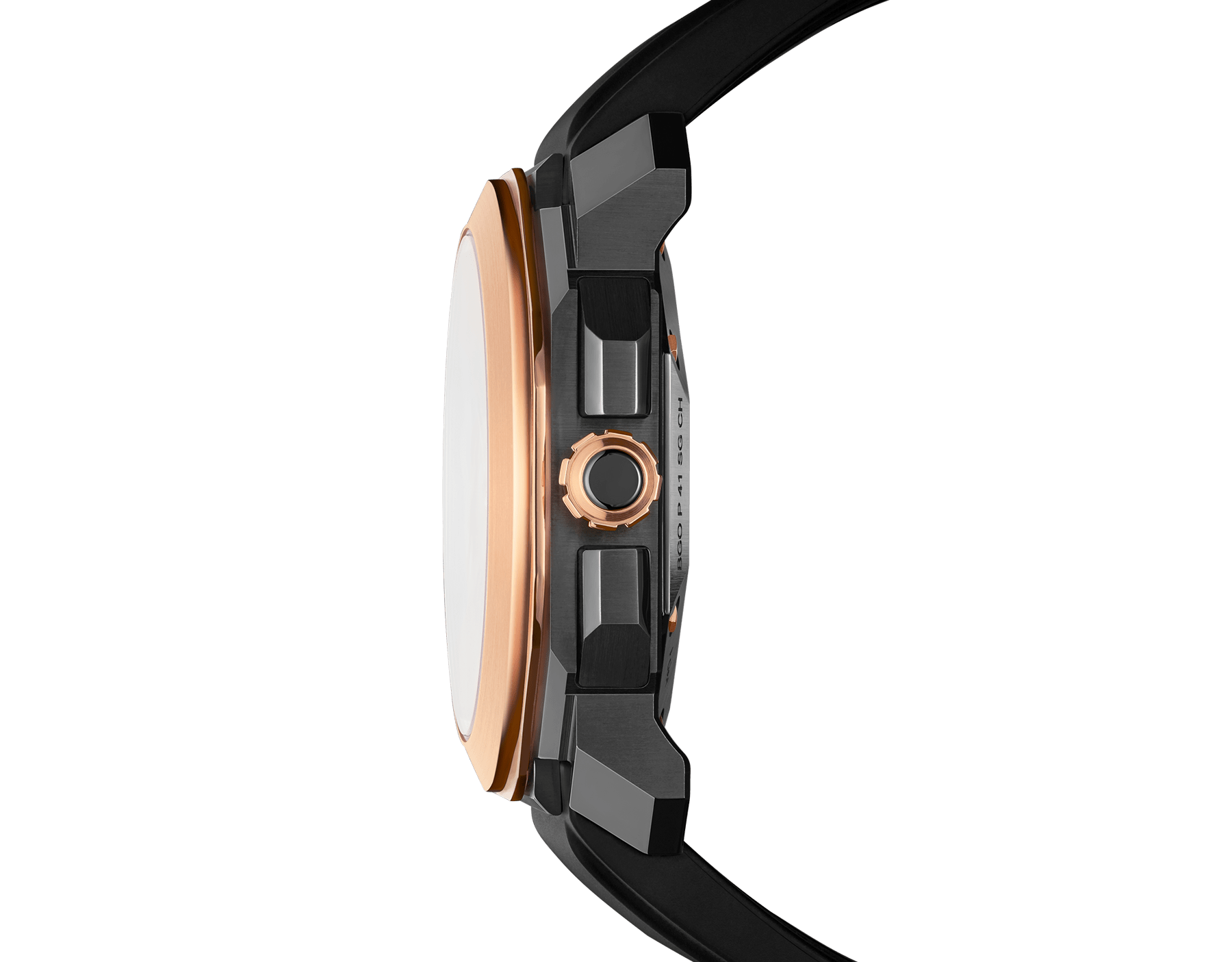 Octo watch with mechanical manufacture movement, high-frequency chronograph, automatic winding and date, stainless steel case treated with black Diamond Like Carbon, 18 kt rose gold bezel, black lacquered dial and black rubber bracelet. 102488 image 3