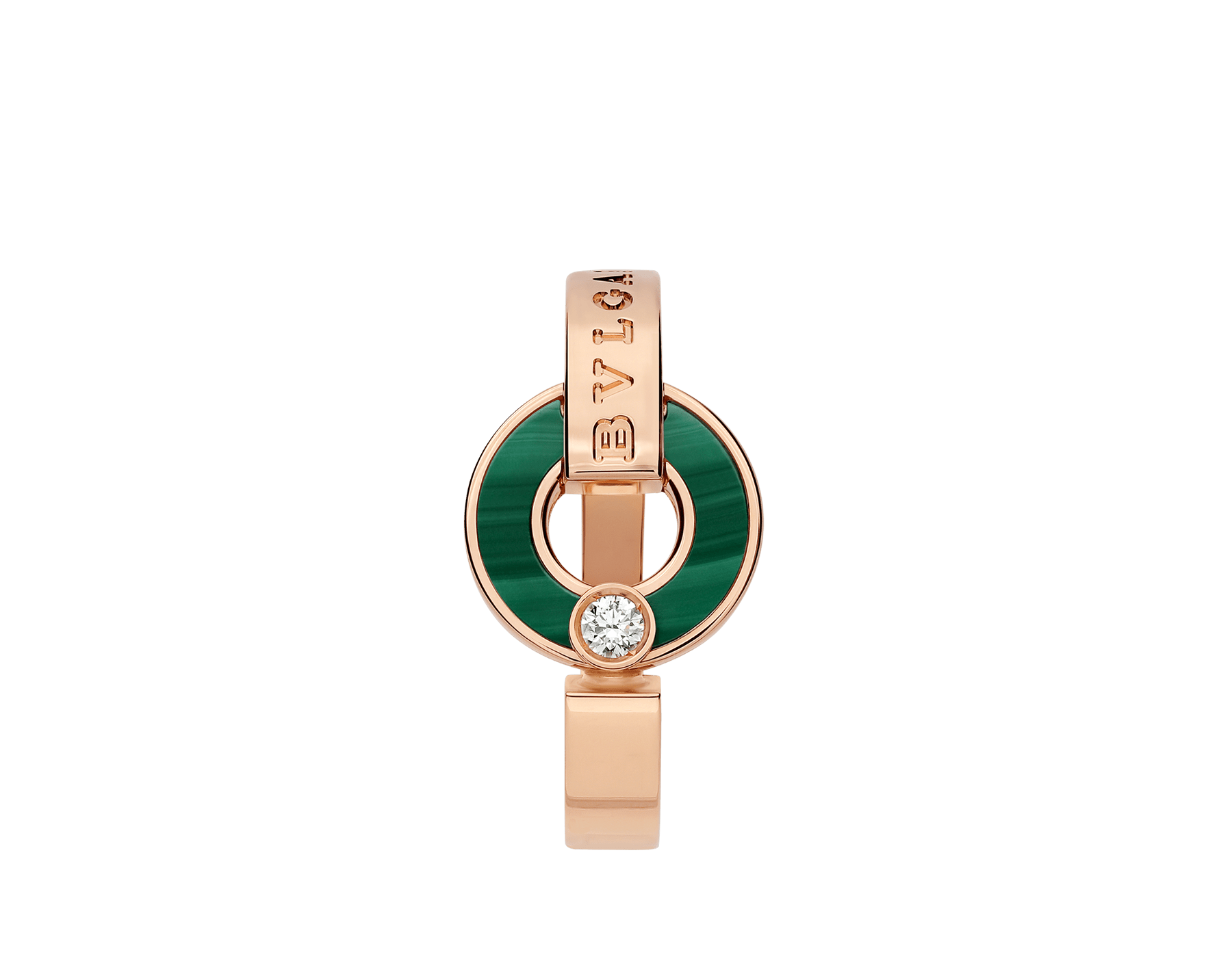 BVLGARI BVLGARI Openwork 18 kt rose gold ring set with malachite elements and a round brilliant-cut diamond AN858946 image 2