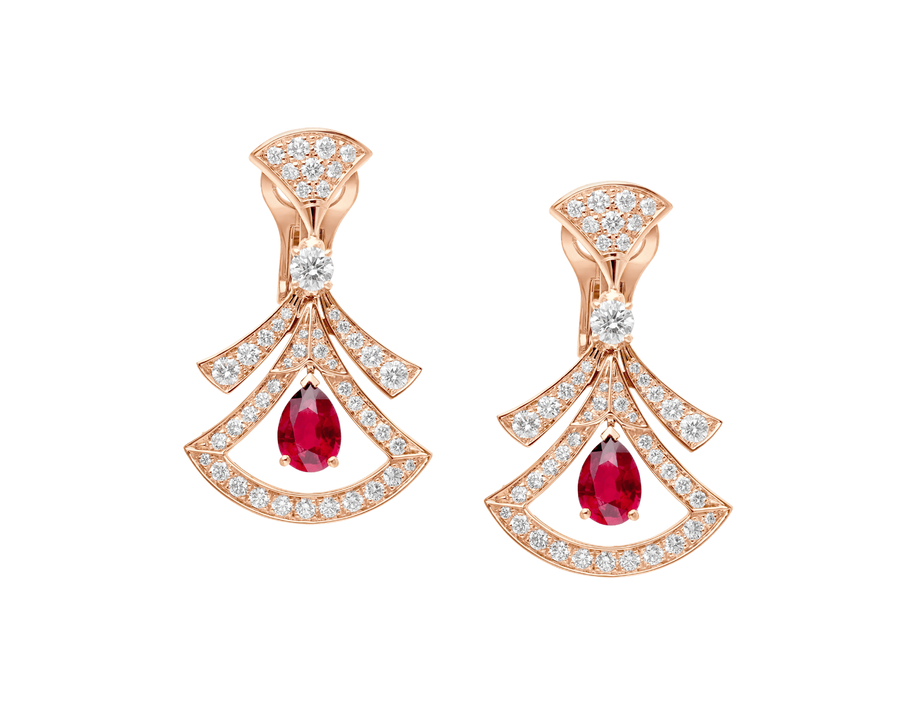 DIVAS' DREAM 18 kt rose gold openwork earrings, set with pear-shaped rubies, round brilliant-cut and pavé diamonds. 356954 image 1