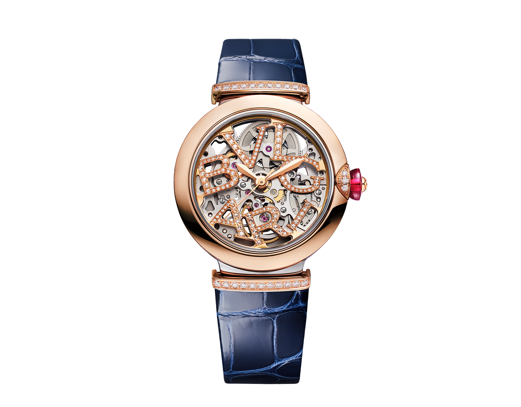 LVCEA Skeleton watch with mechanical manufacture movement, automatic winding and skeleton execution, stainless steel and 18 kt rose gold case, 18 kt rose gold openwork BVLGARI logo dial set with brilliant-cut diamonds and blue alligator bracelet with 18 kt rose gold links set with diamonds 103502 image 1