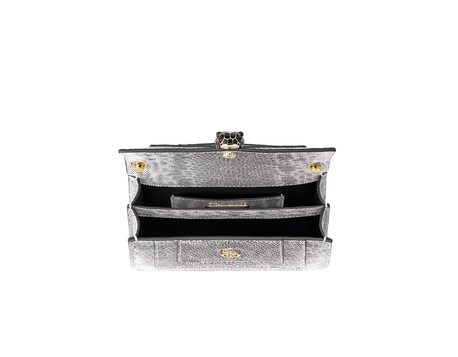 Serpenti Forever mini crossbody bag in white agate metallic karung skin. Brass light gold-plated snake head closure in black and white enamel with black onyx eyes. 986-MK image 4