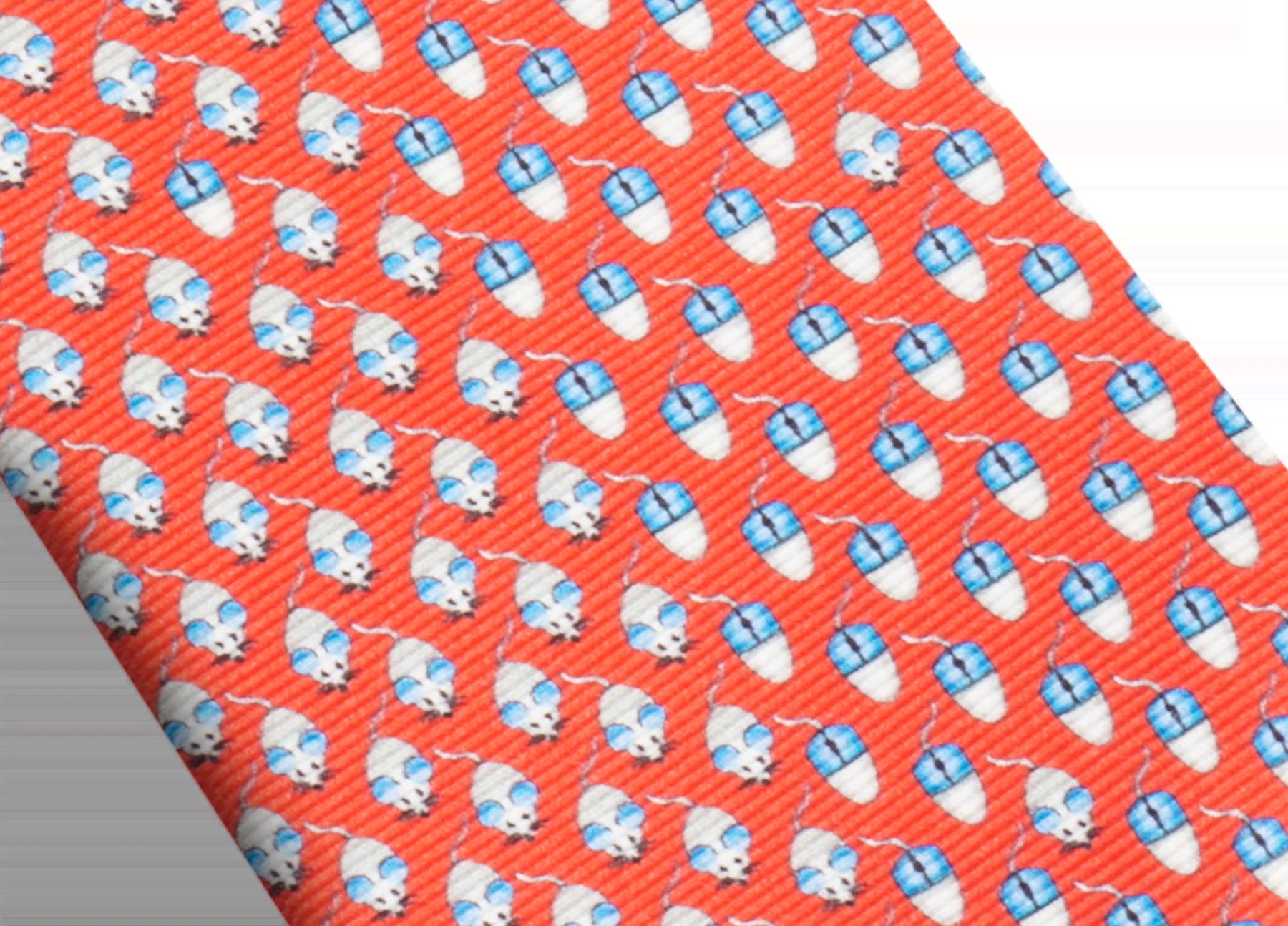 Red Mouse Click pattern seven-fold tie in fine saglione printed silk. 244206 image 2