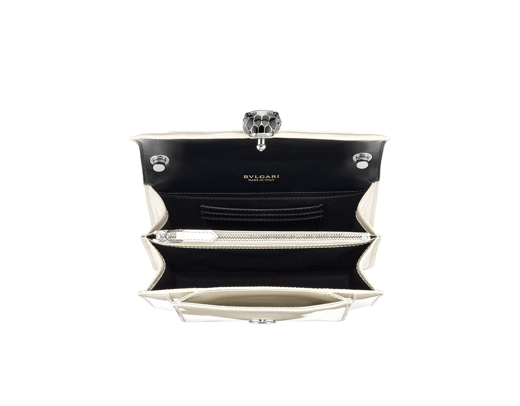 """Serpenti Forever"" crossbody bag in white agate calf leather with a varnished and pearled effect. Iconic snakehead closure in light gold plated brass enriched with black and pearled white agate enamel and black onyx eyes. 1082-VCL image 4"