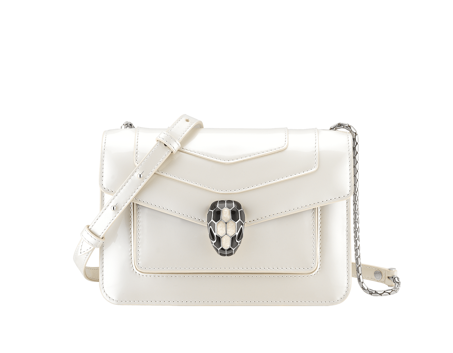 """Serpenti Forever"" crossbody bag in white agate calf leather with a varnished and pearled effect. Iconic snakehead closure in light gold plated brass enriched with black and pearled white agate enamel and black onyx eyes. 289771 image 1"