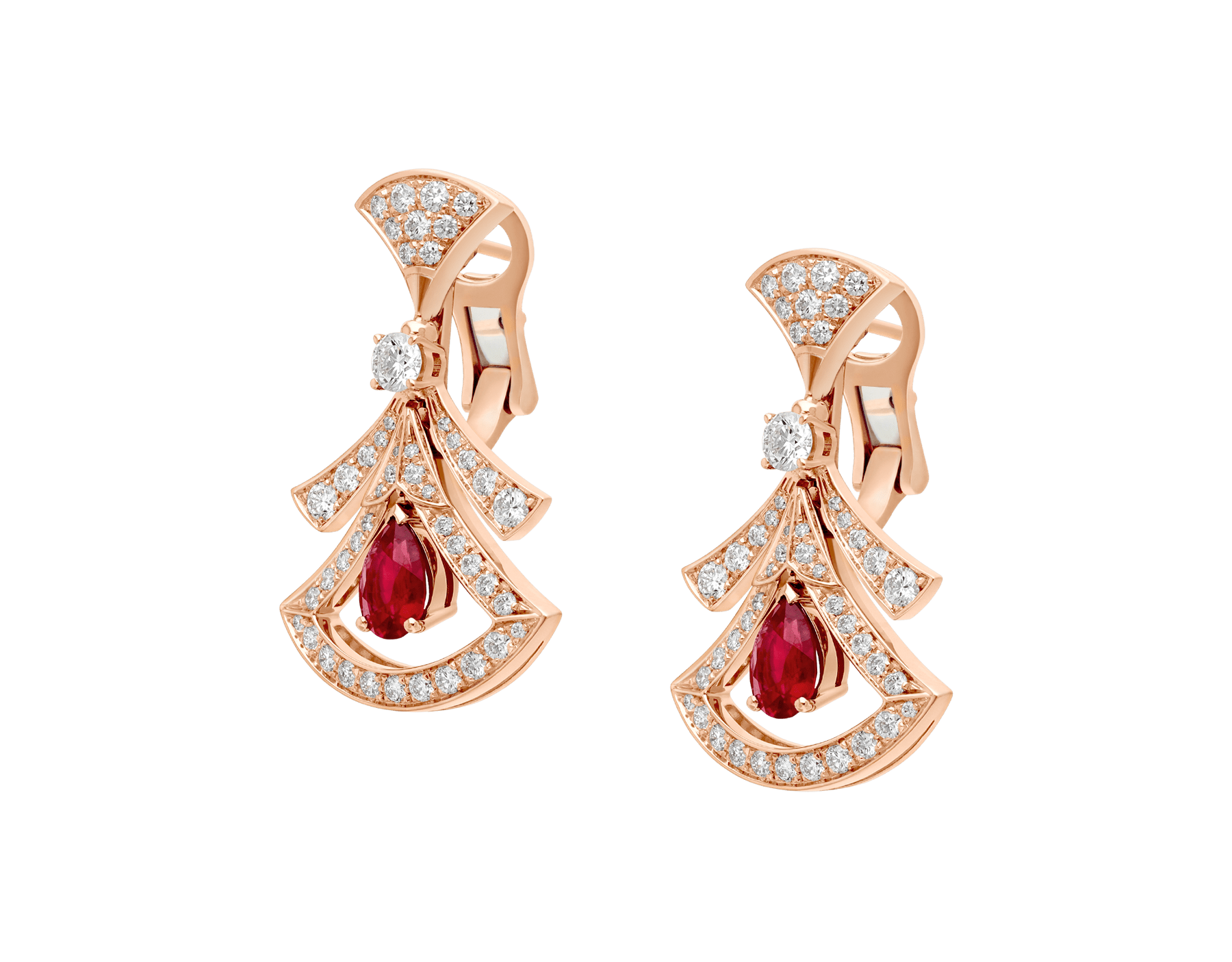 DIVAS' DREAM 18 kt rose gold openwork earrings, set with pear-shaped rubies, round brilliant-cut and pavé diamonds. 356954 image 2