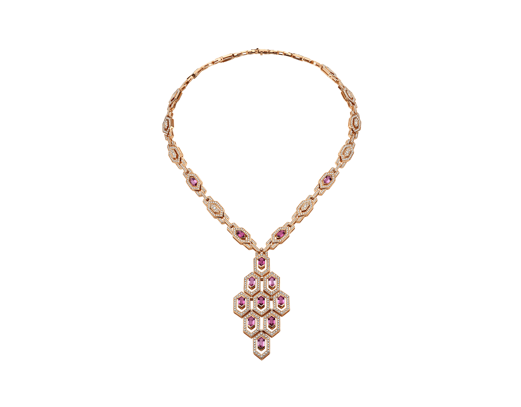 Serpenti Necklace in 18 kt pink gold with rubellite (5.25 ct) and pavè diamonds (7.37 ct) 353845 image 1