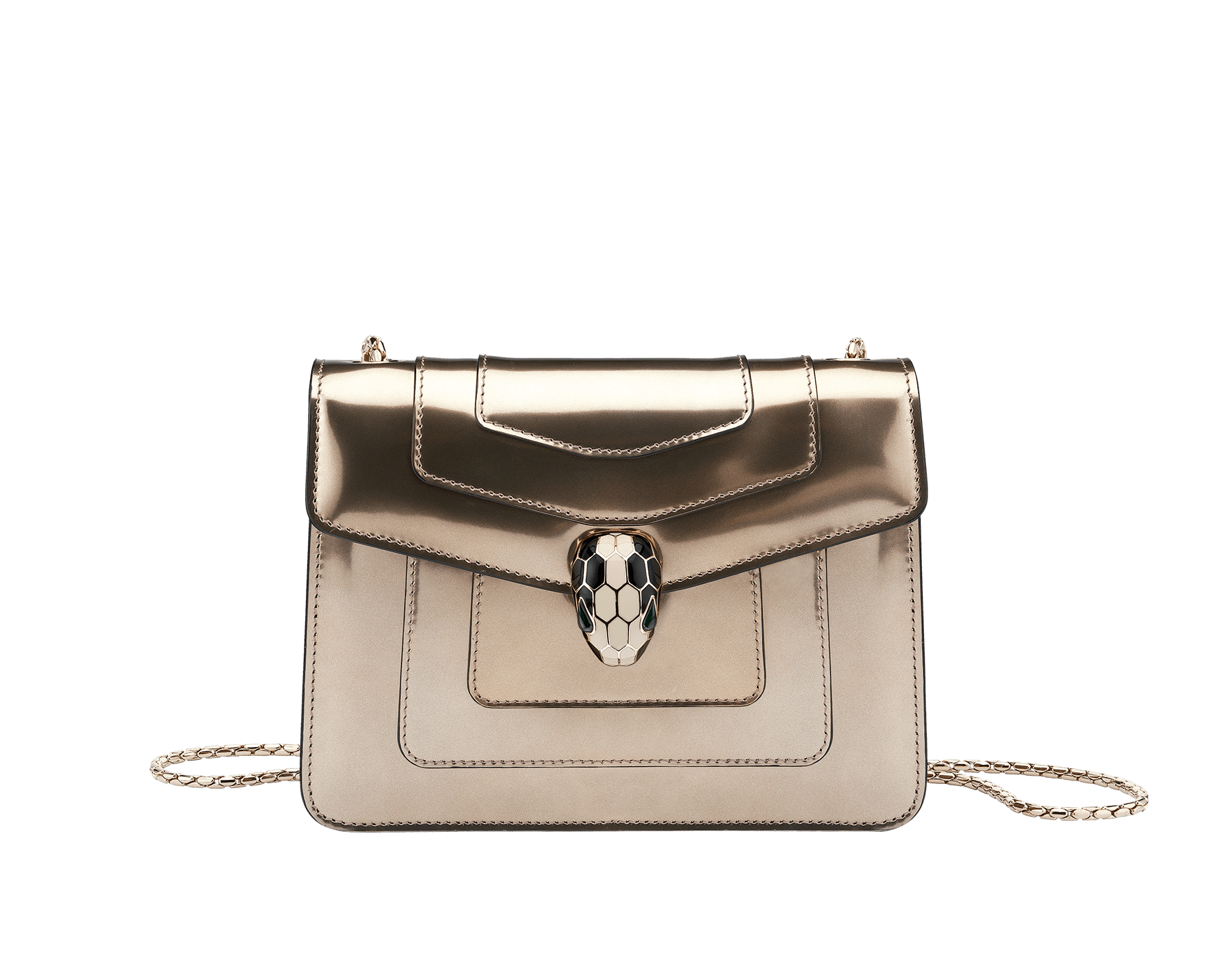 Flap cover bag Serpenti Forever in antique bronze brushed metallic calf leather with brass light gold plated Serpenti head closure in black and white enamel with eyes in green malachite. 39485 image 1