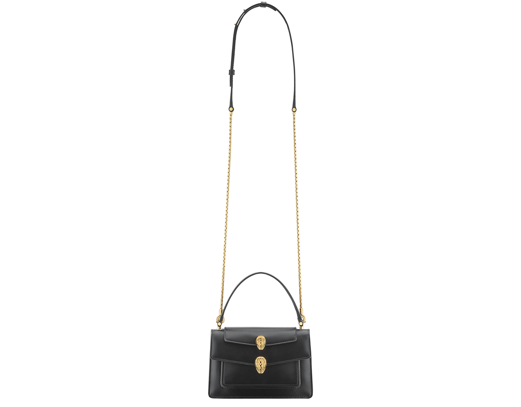 Alexander Wang x Bvlgari belt bag in smooth black calf leather. New double Serpenti head closure in antique gold plated brass with tempting red enamel eyes. Limited edition. 288737 image 6