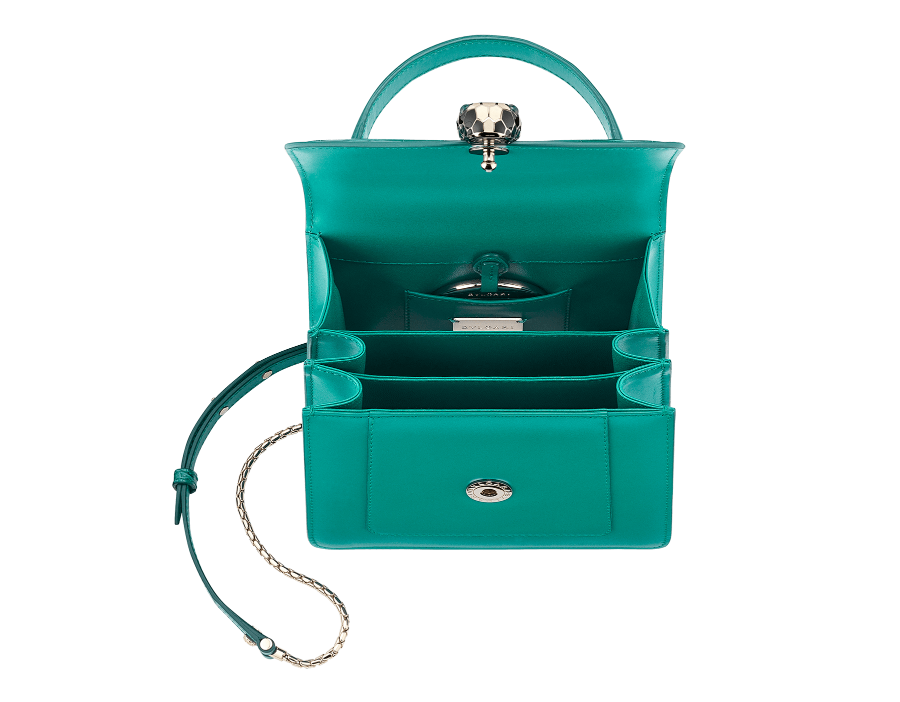 Serpenti Forever crossbody bag in tropical turquoise shiny croco skin and smooth calf leather. Snakehead closure in light gold plated brass decorated with black and white enamel, and green malachite eyes. 752-CLCR image 4