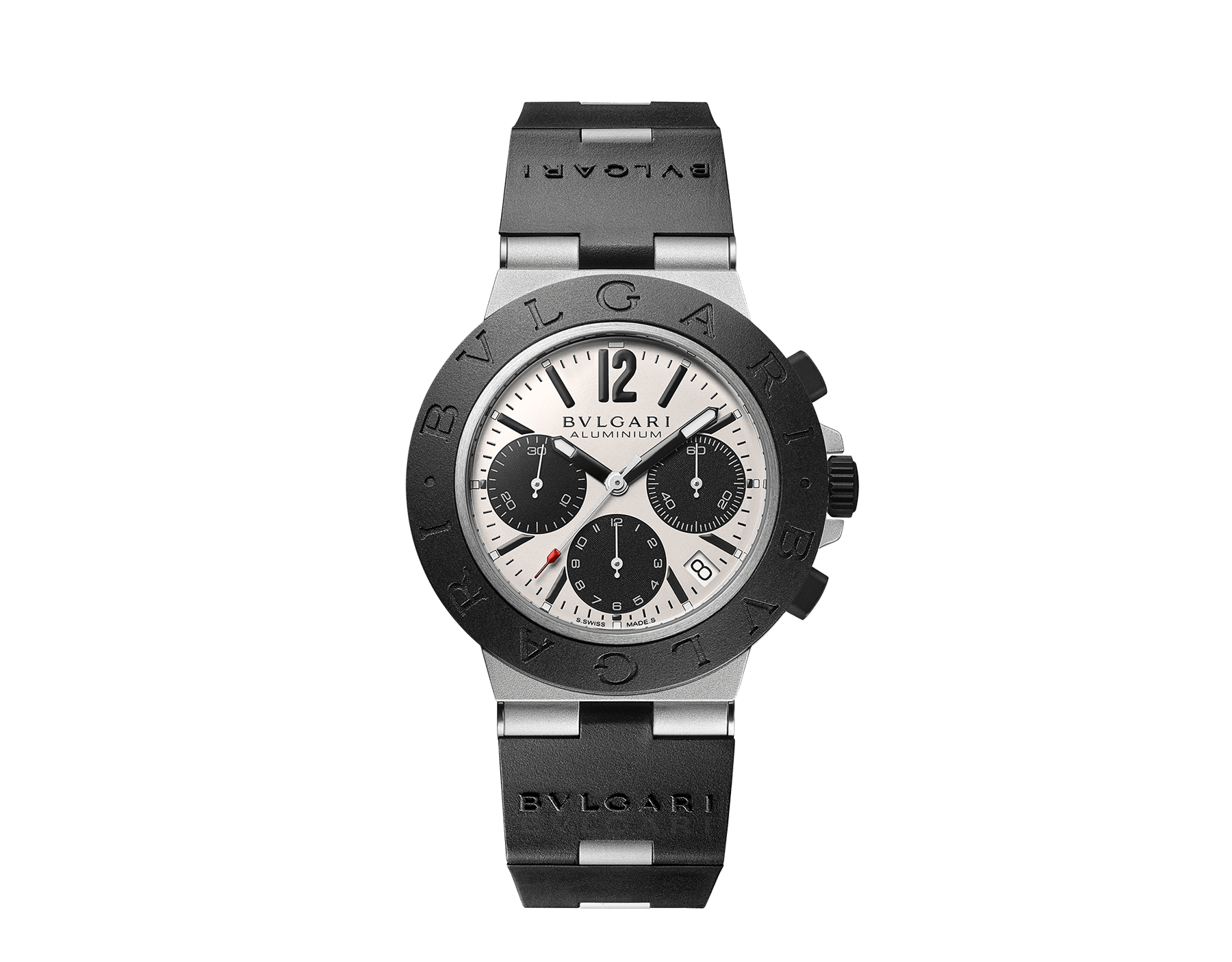 Bvlgari Aluminium watch with mechanical manufacture movement, automatic winding, chronograph, 40 mm aluminium and titanium case, black rubber bezel with BVLGARI BVLGARI engraving, grey dial and black rubber bracelet. Water resistant up to 100 metres 103383 image 1