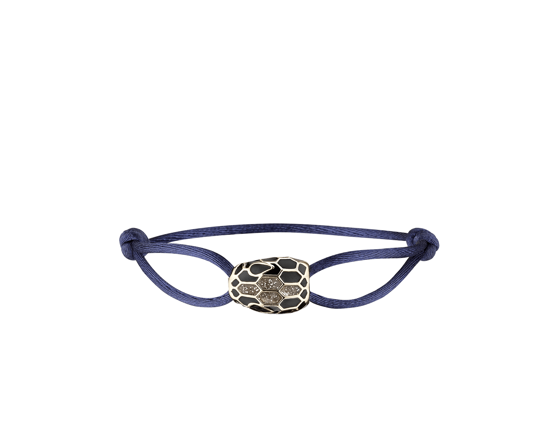 """""""Serpenti Forever"""" bracelet in Mimetic Jade green fabric with a dark ruthenium-plated brass tempting snakehead décor enamelled in black, with seductive black enamel eyes. SERP-STRINGb image 2"""
