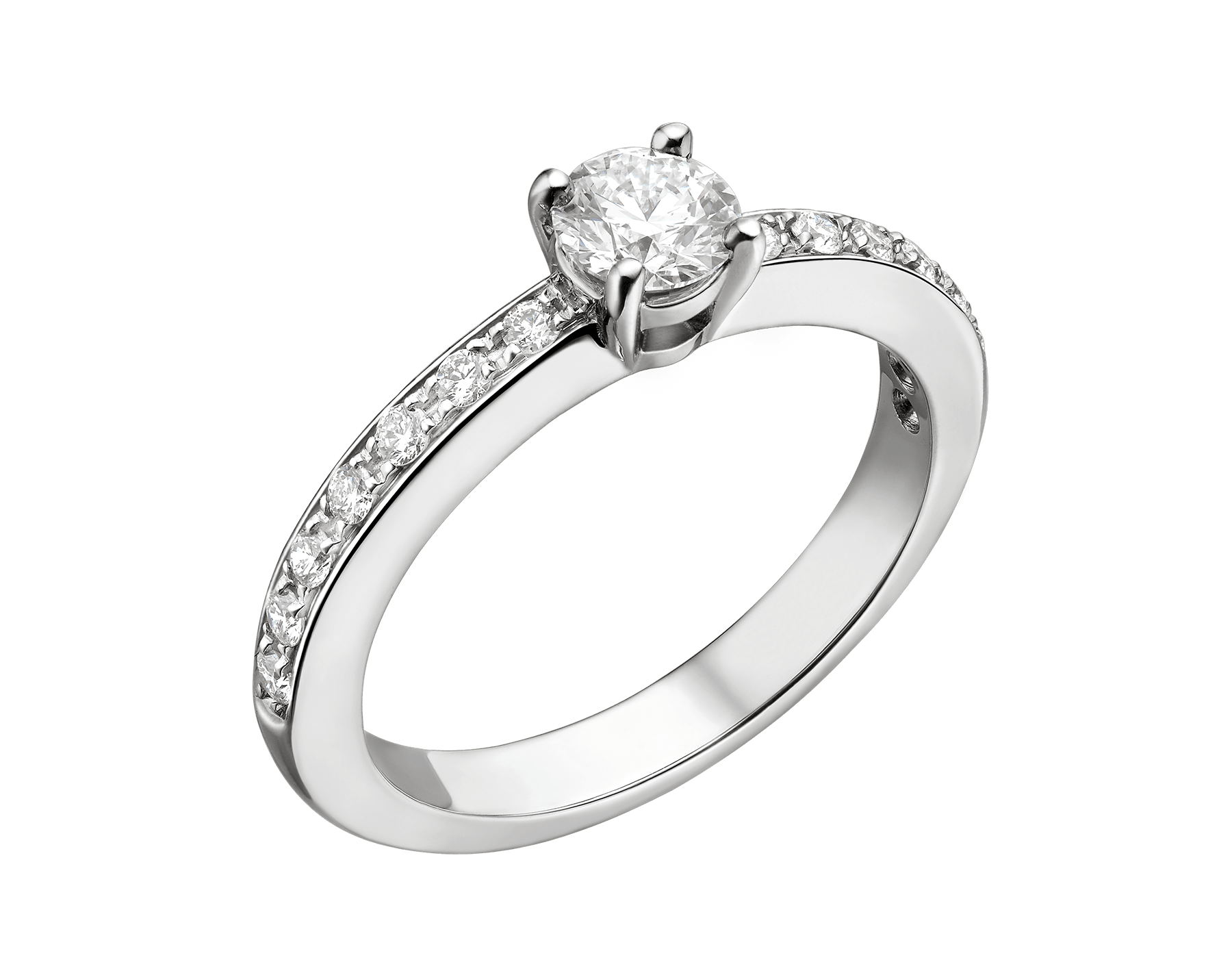 Griffe platinum round brilliant cut diamond and pavé diamond ring. Available from 0.30 ct. 340287 image 1